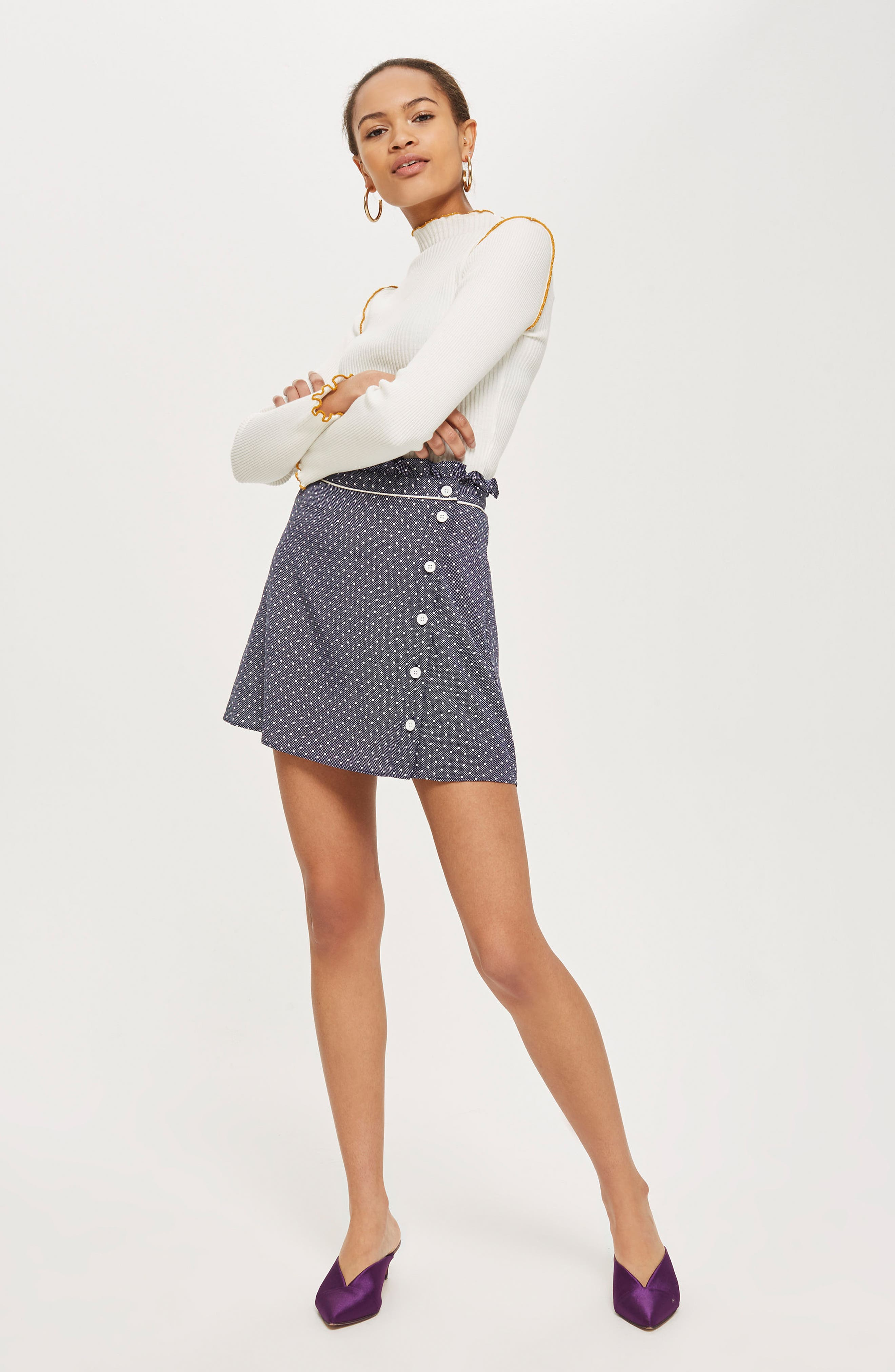 Spot Ruffle Miniskirt,                             Alternate thumbnail 4, color,                             411