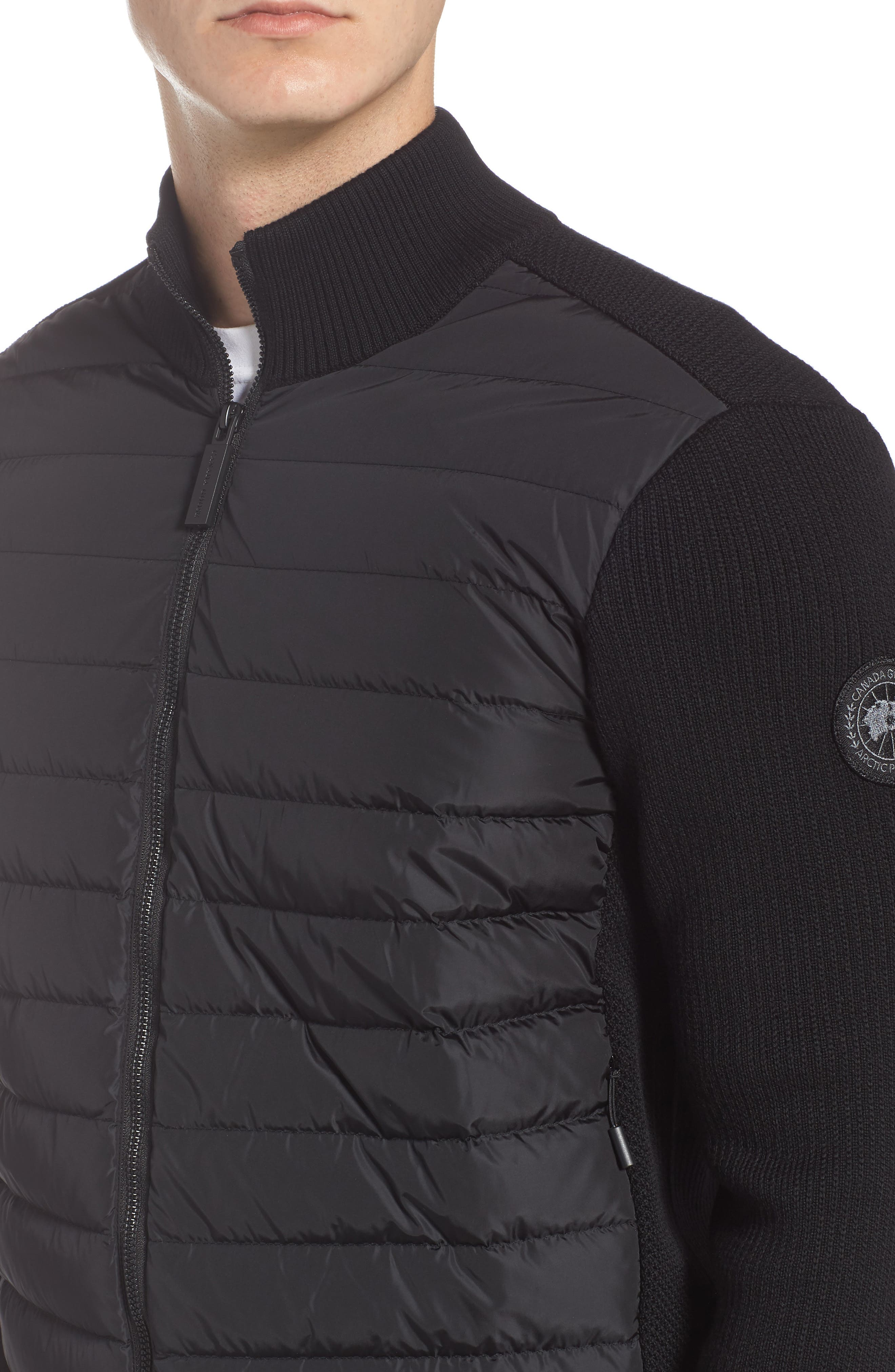 CANADA GOOSE,                             Hybridge Slim Fit Down Front Knit Jacket,                             Alternate thumbnail 4, color,                             BLACK