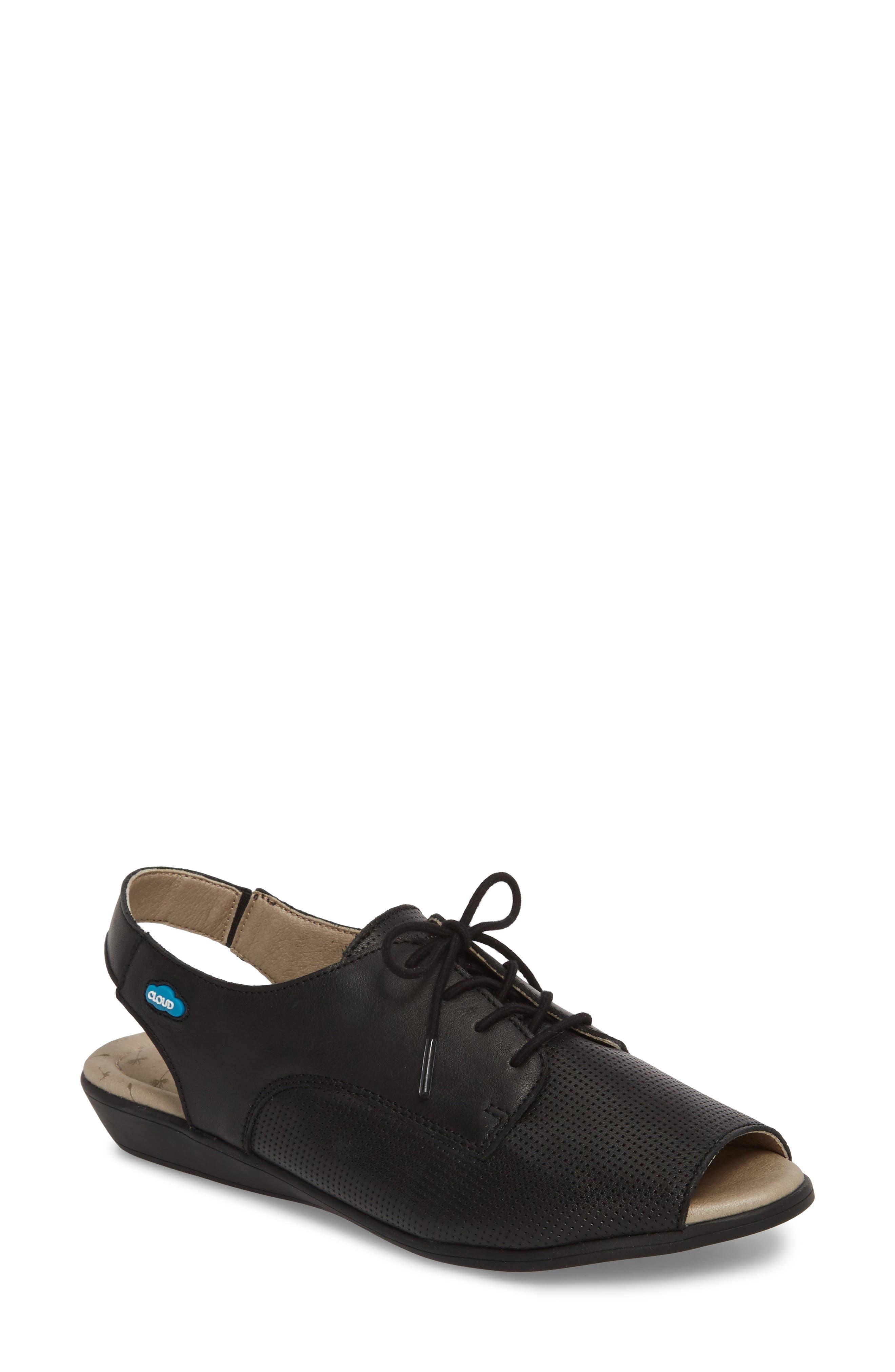 Cleone Slingback Sandal,                             Main thumbnail 1, color,                             BLACK LEATHER