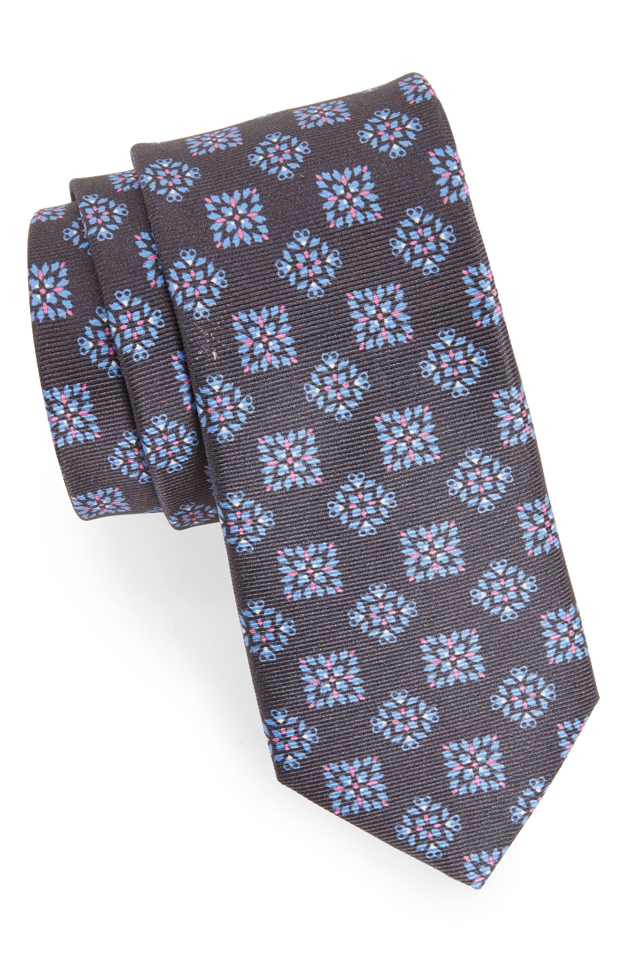 Medallion Silk Tie,                         Main,                         color, 001