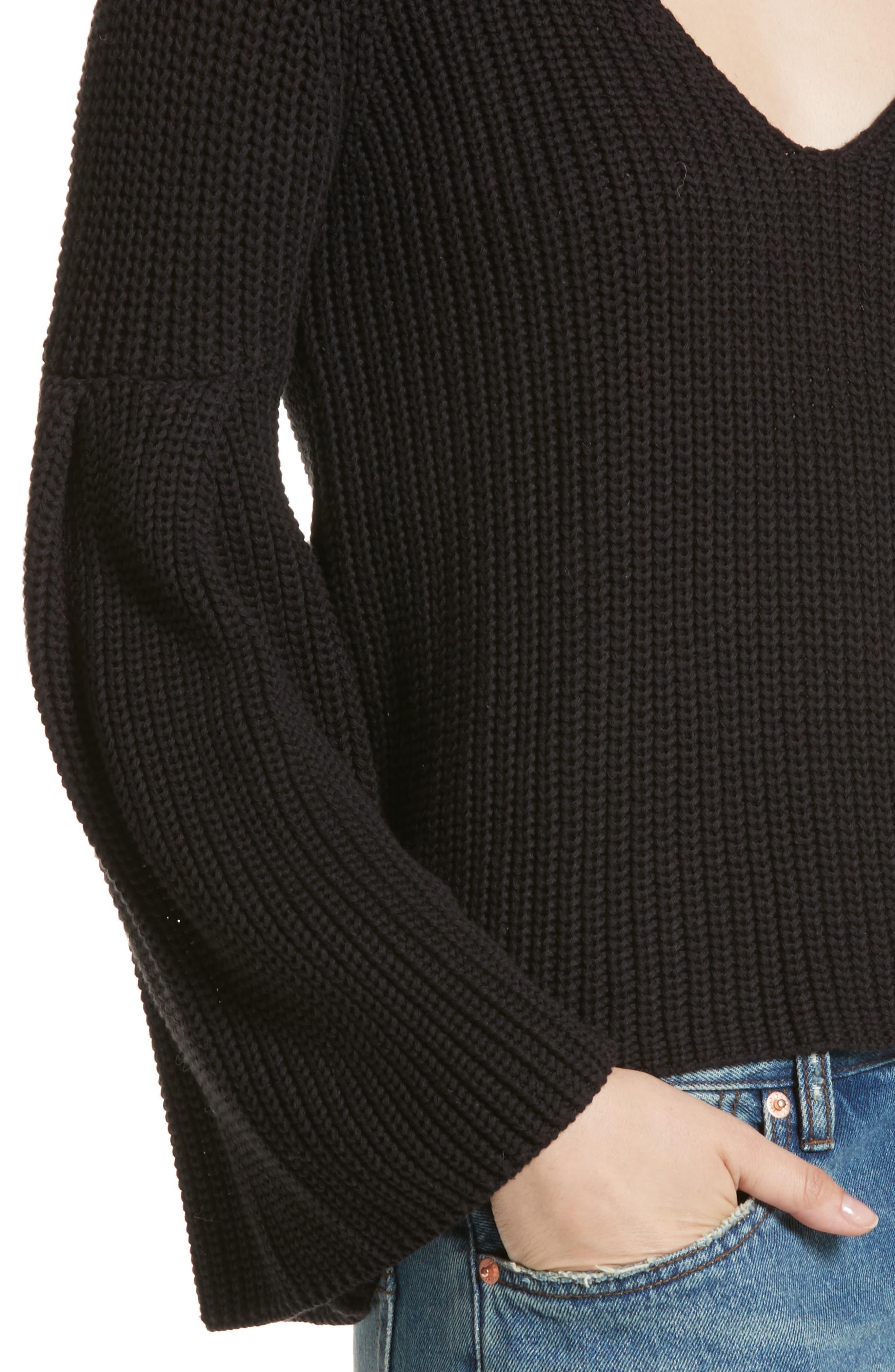 Damsel Bell Sleeve Pullover,                             Alternate thumbnail 4, color,                             001