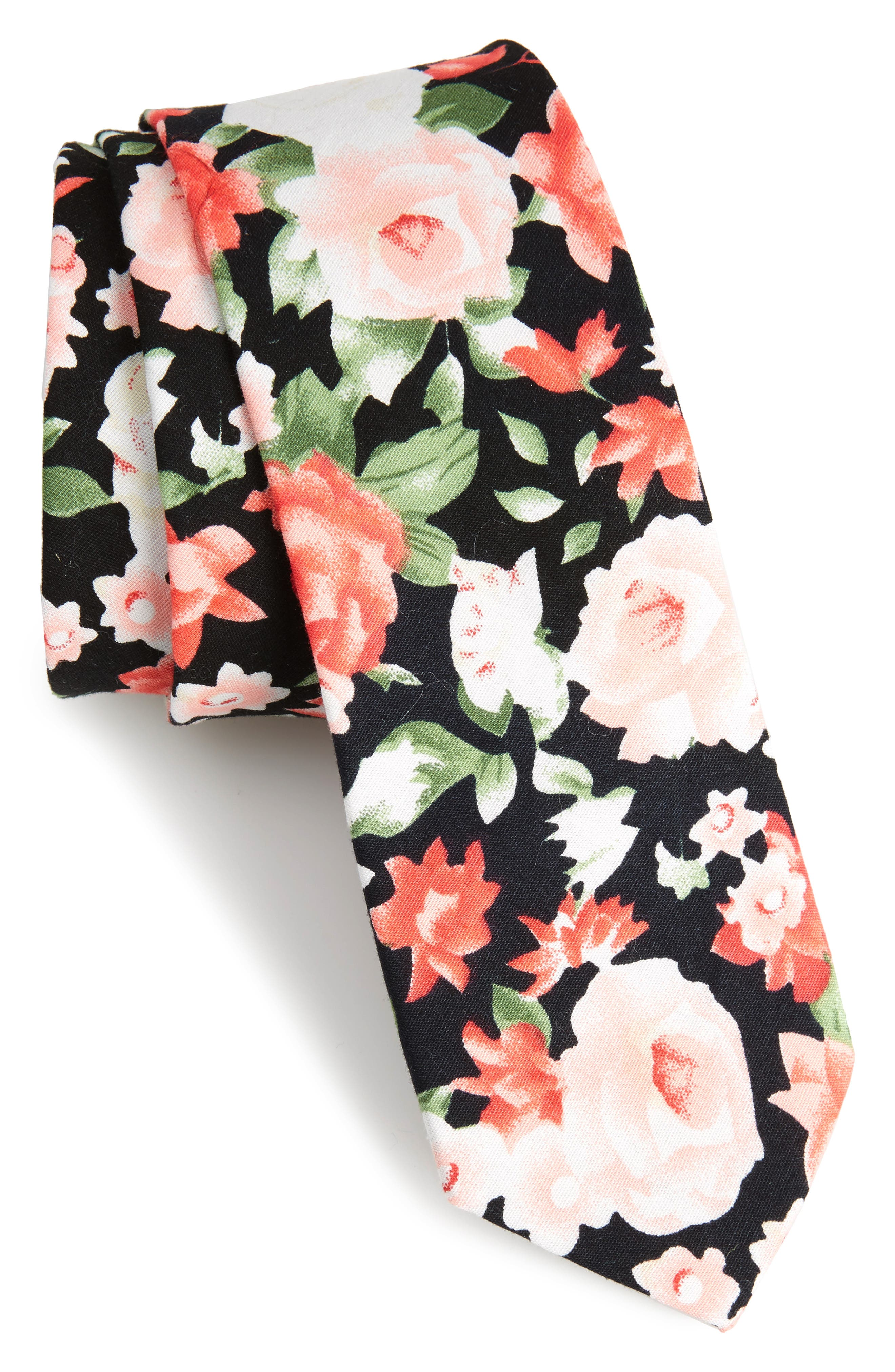 Colbert Floral Cotton Skinny Tie,                             Main thumbnail 1, color,                             001