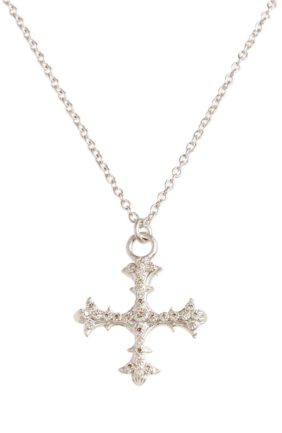 Old World Diamond Cross Pendant Necklace,                             Main thumbnail 1, color,                             SILVER