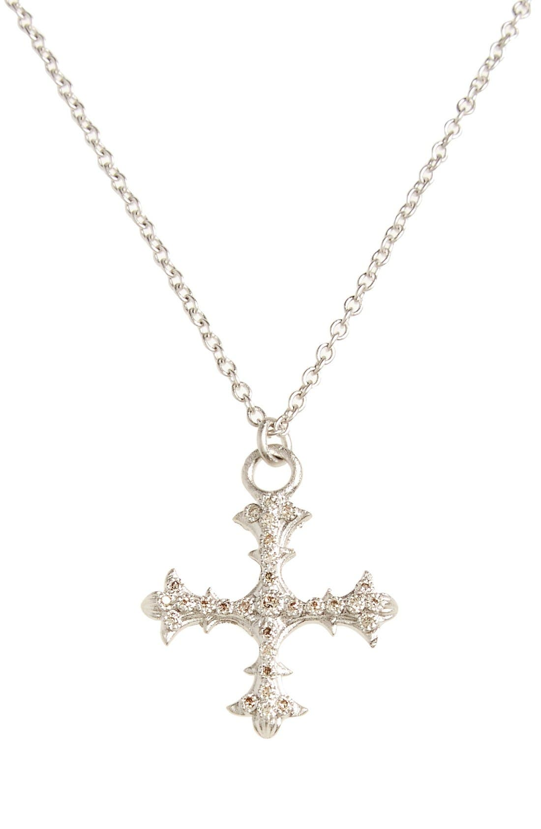 Old World Diamond Cross Pendant Necklace,                         Main,                         color, SILVER