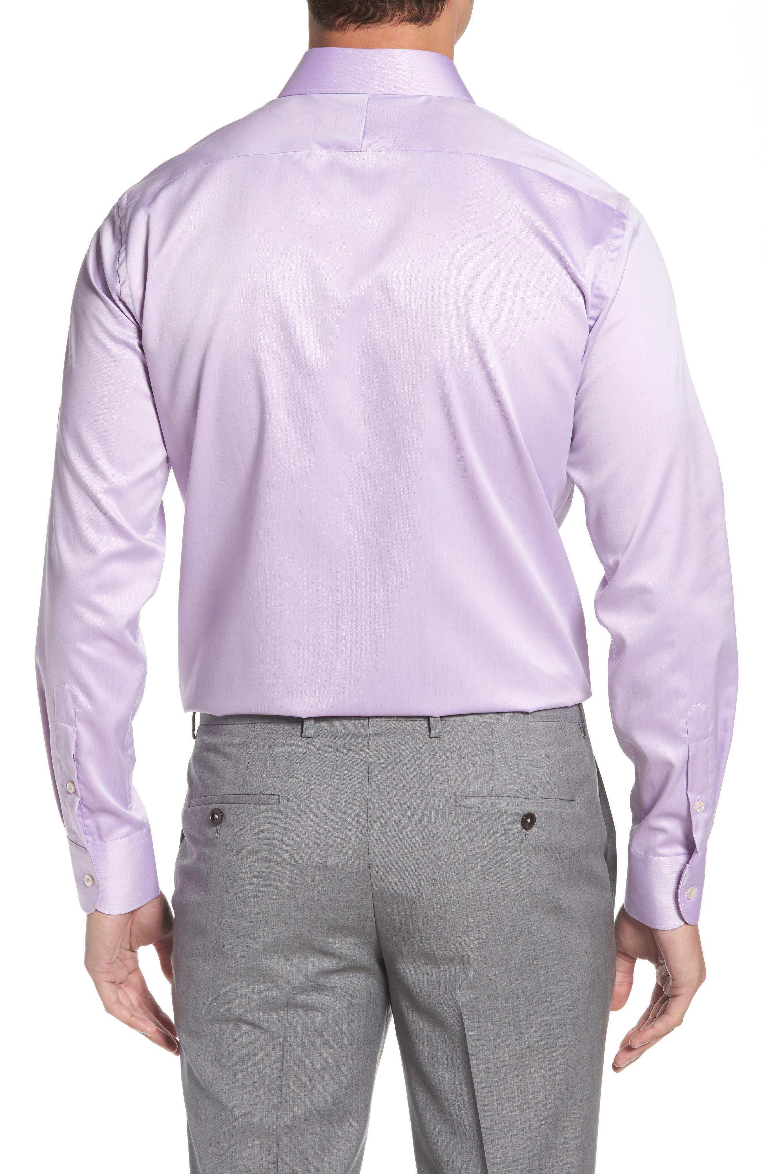Regular Fit Solid Dress Shirt,                             Alternate thumbnail 3, color,                             PURPLE