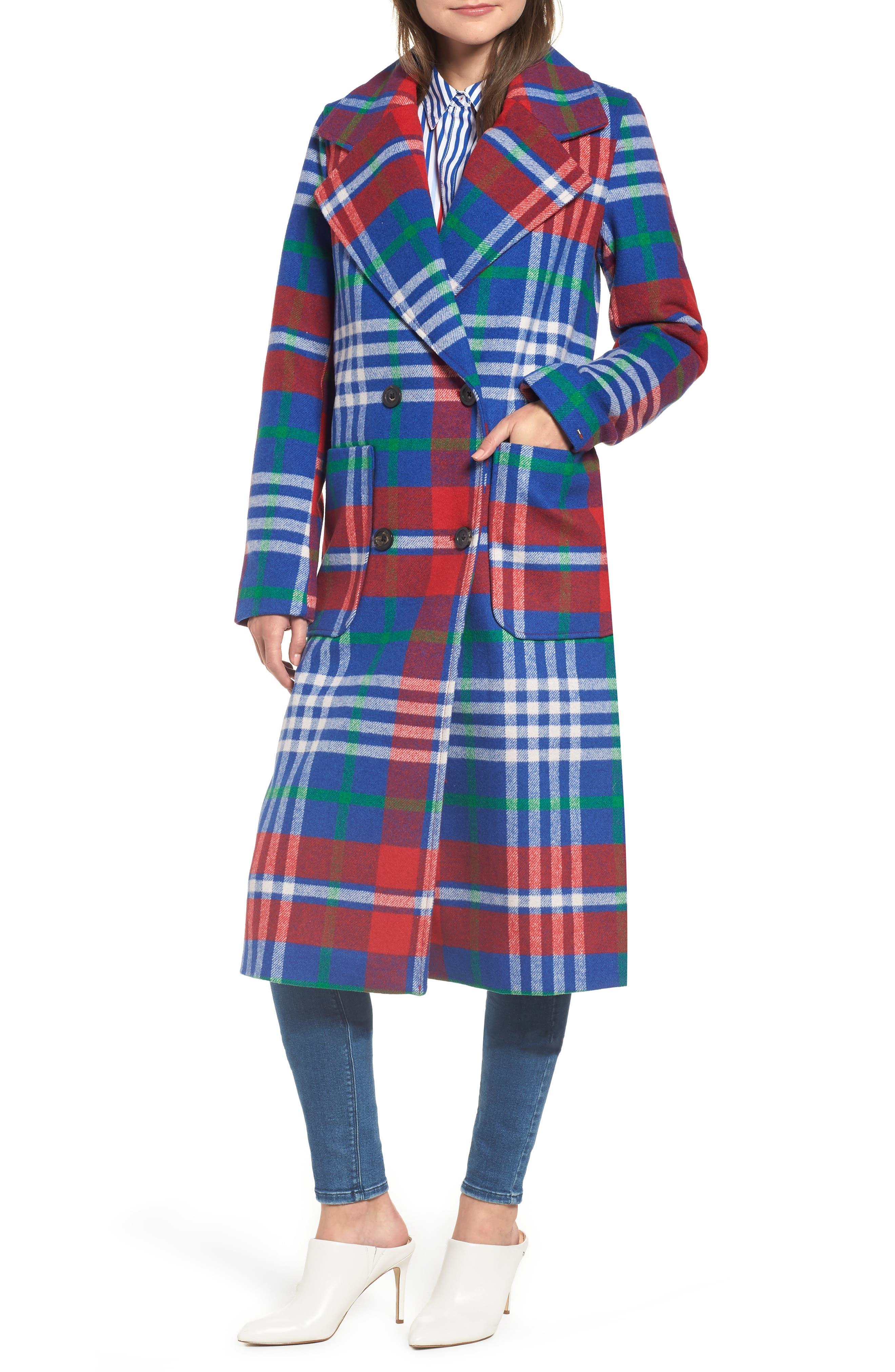 Long Plaid Coat,                             Alternate thumbnail 4, color,                             605