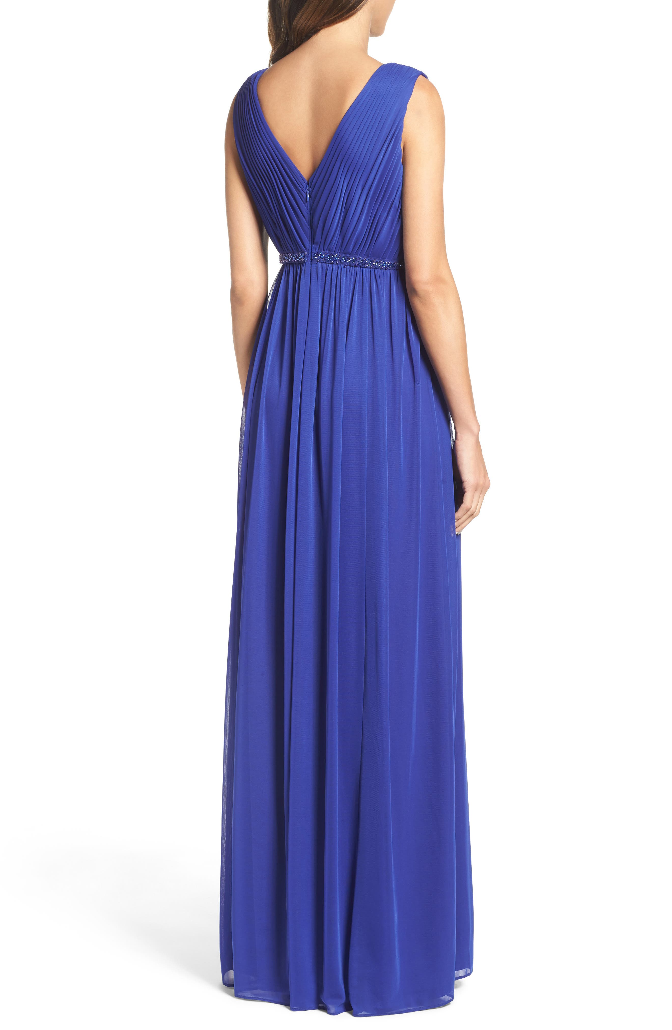 Embellished Shirred Tulle Gown,                             Alternate thumbnail 2, color,                             490