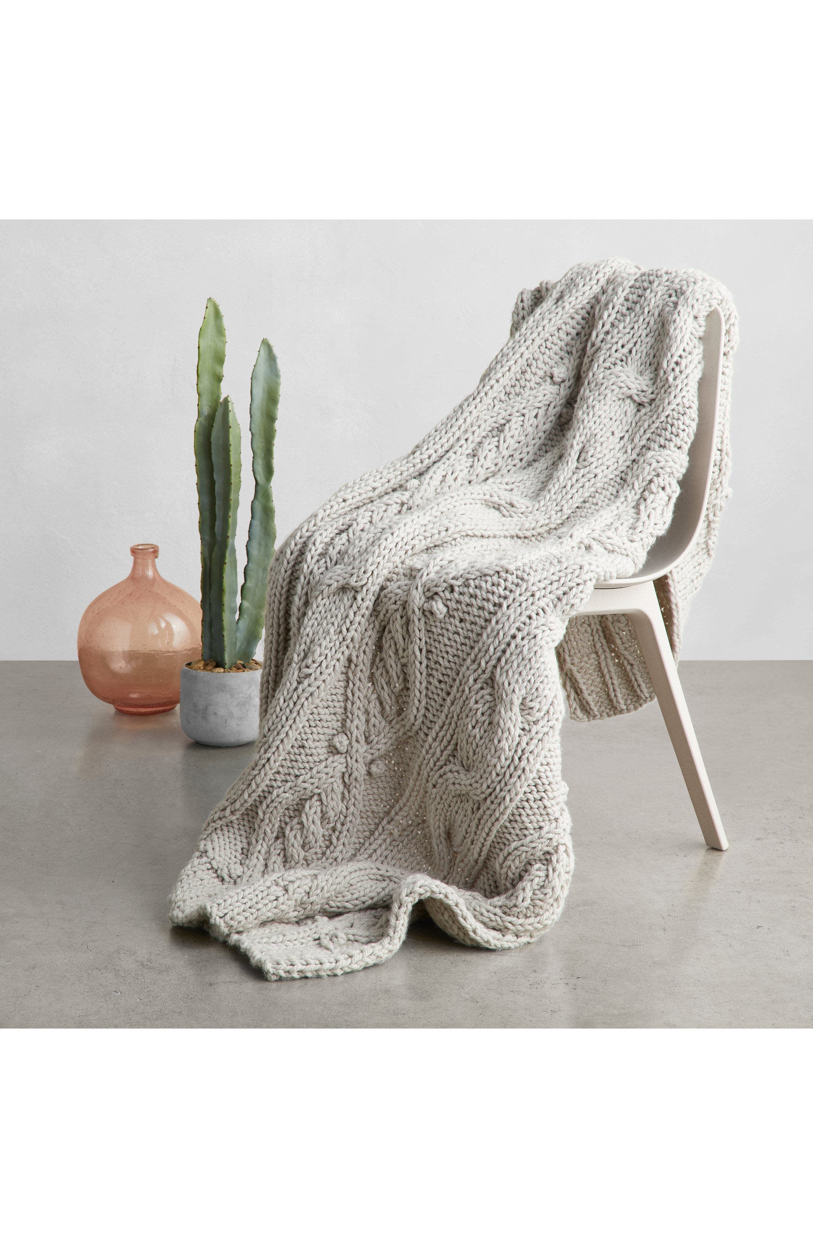 Chunky Cable Knit Throw Blanket,                             Alternate thumbnail 4, color,                             PINK HERO