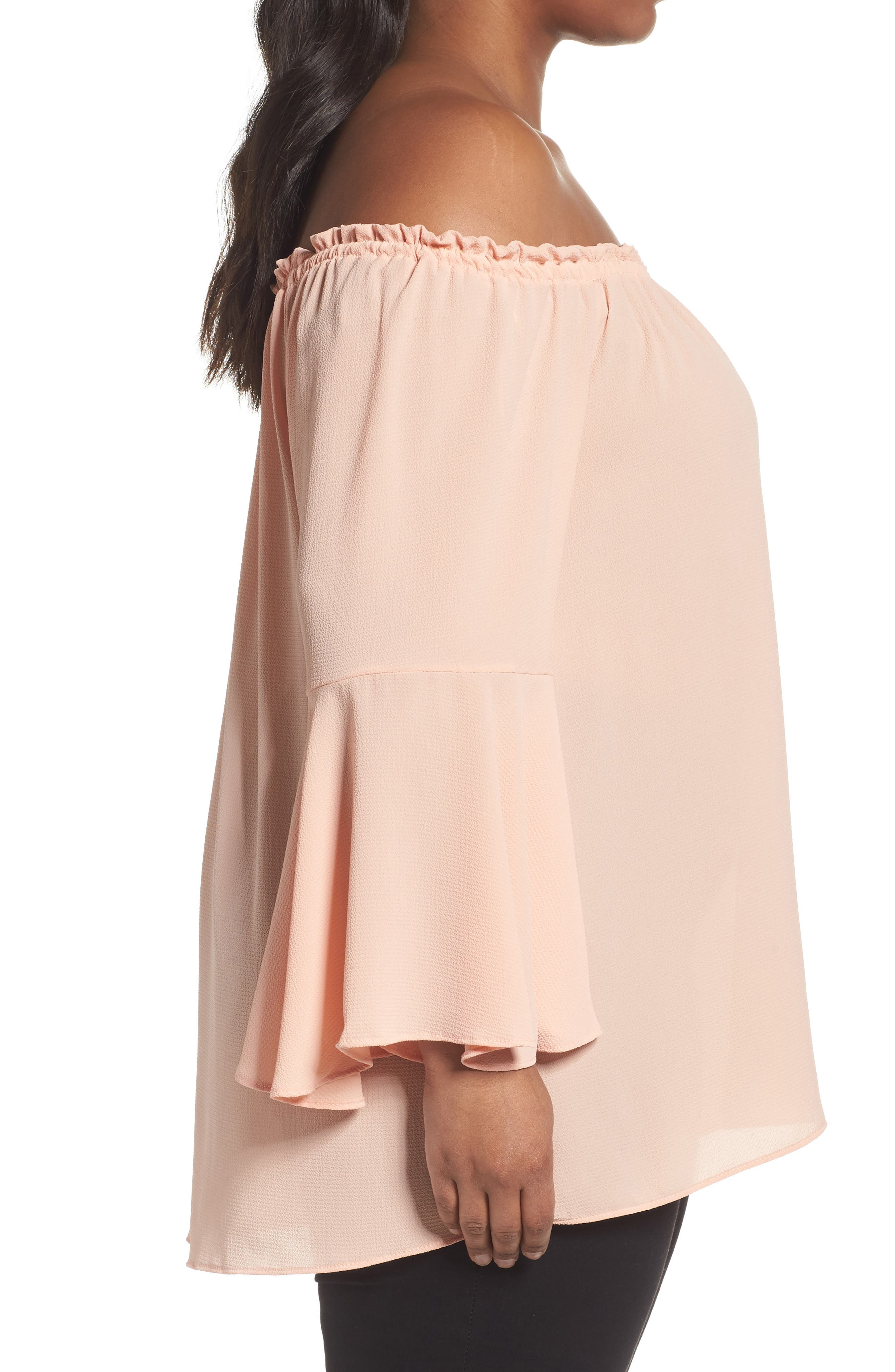 Bell Sleeve Off the Shoulder Top,                             Alternate thumbnail 3, color,