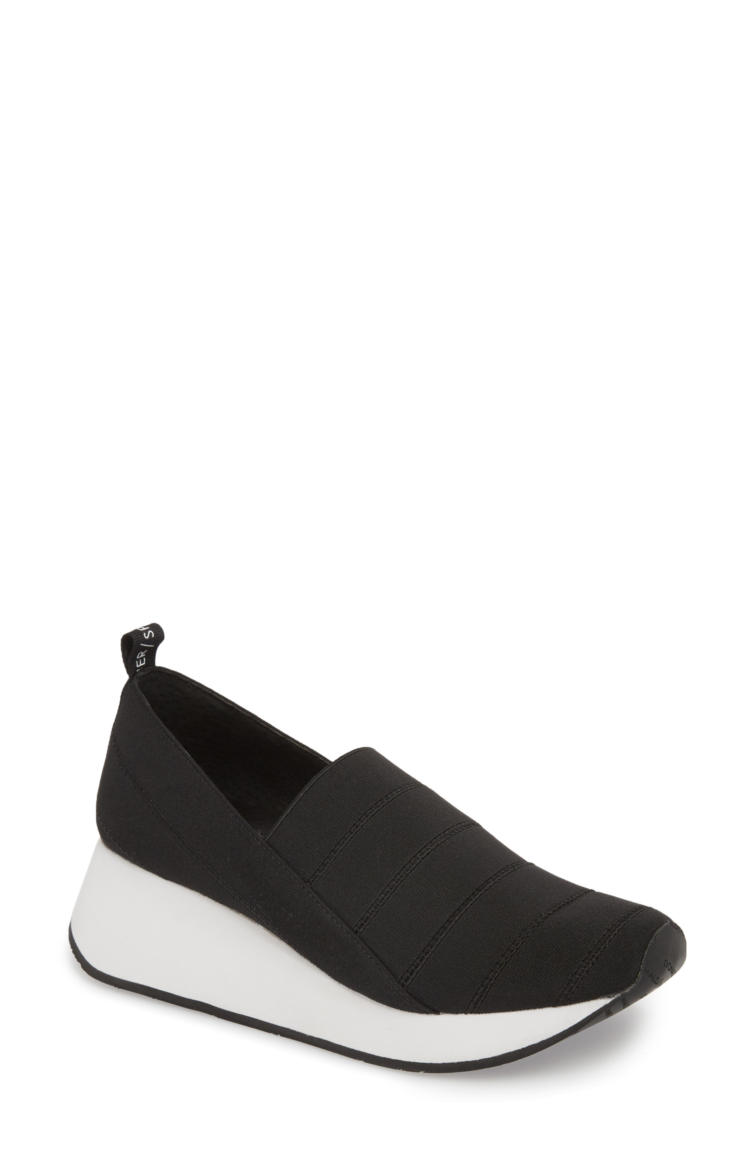 Piper Platform Slip-On Sneaker,                             Main thumbnail 1, color,                             BLACK STRETCH FABRIC