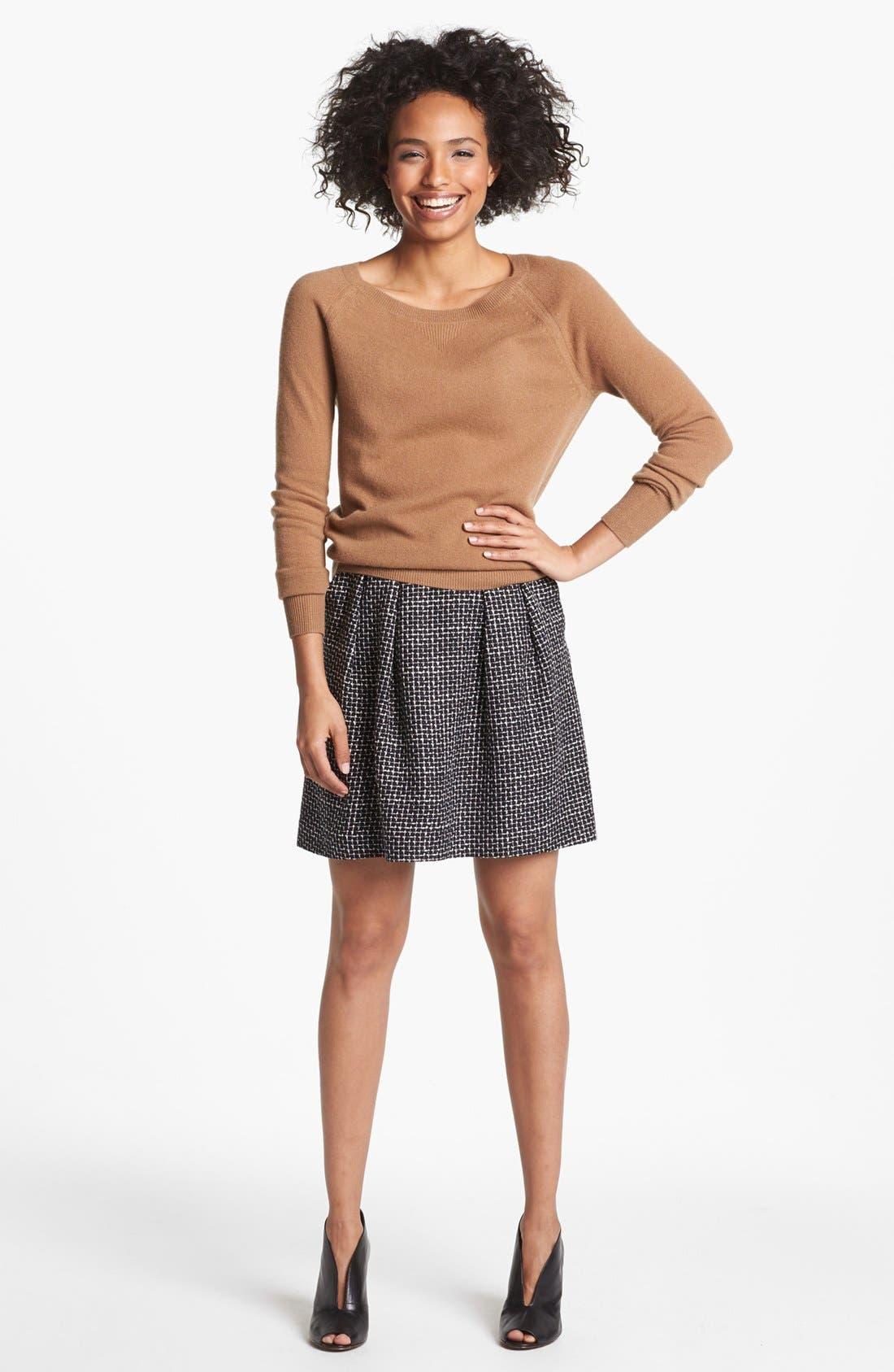 Pleated A-Line Skirt,                             Alternate thumbnail 5, color,                             001