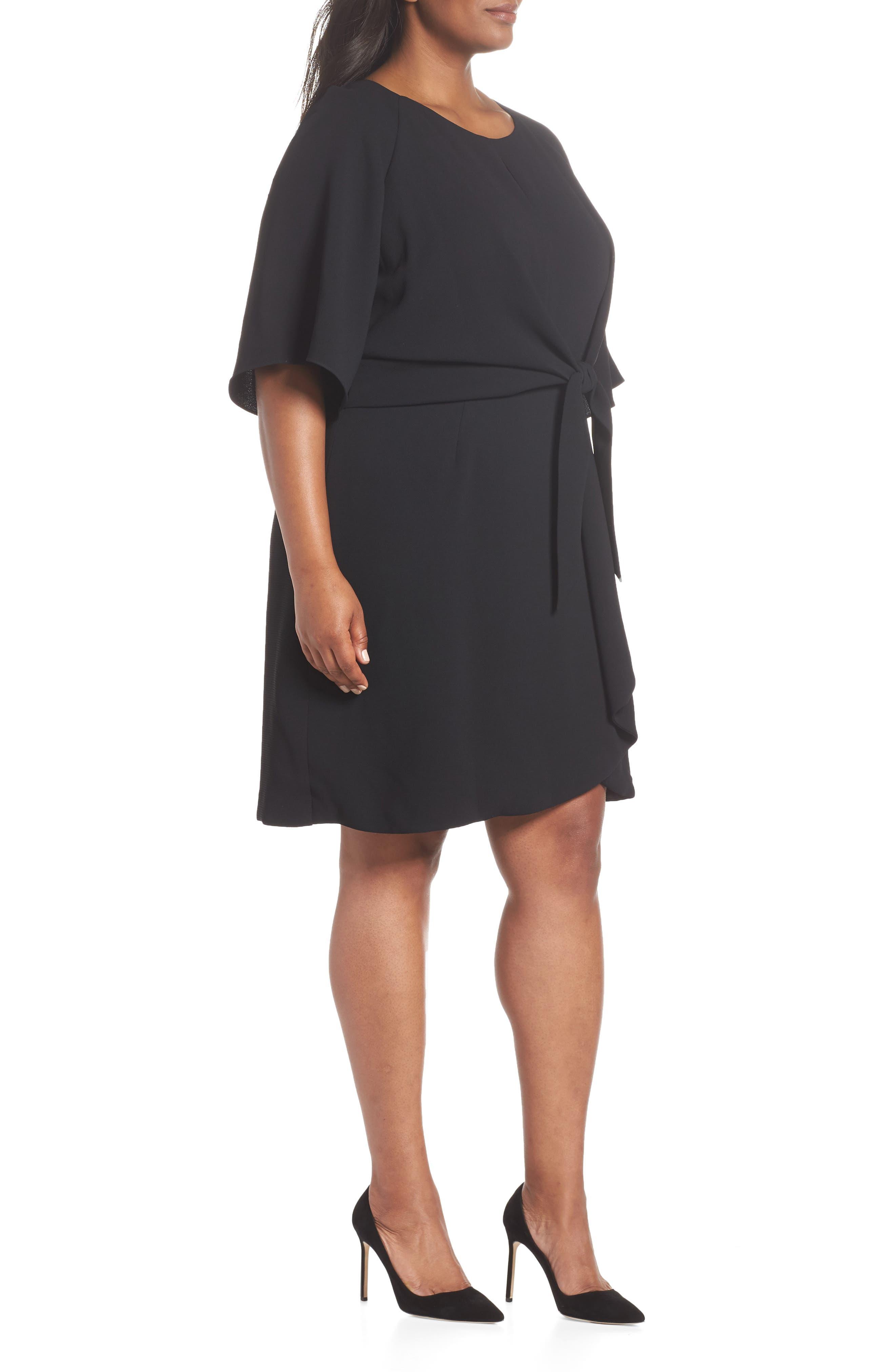 Tie Front Crepe Shift Dress,                             Alternate thumbnail 3, color,                             BLACK