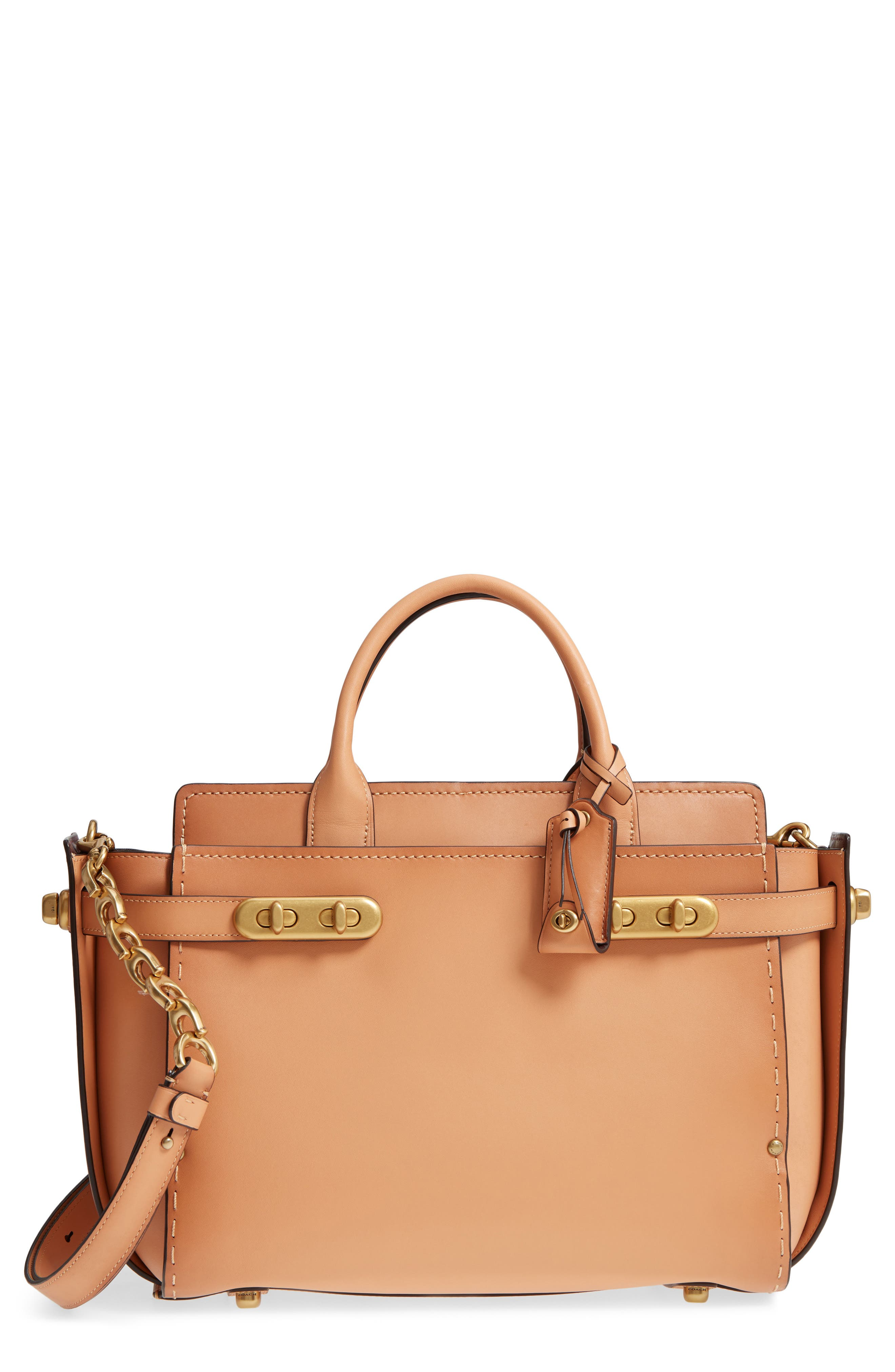 Double Swagger Leather Satchel,                         Main,                         color,