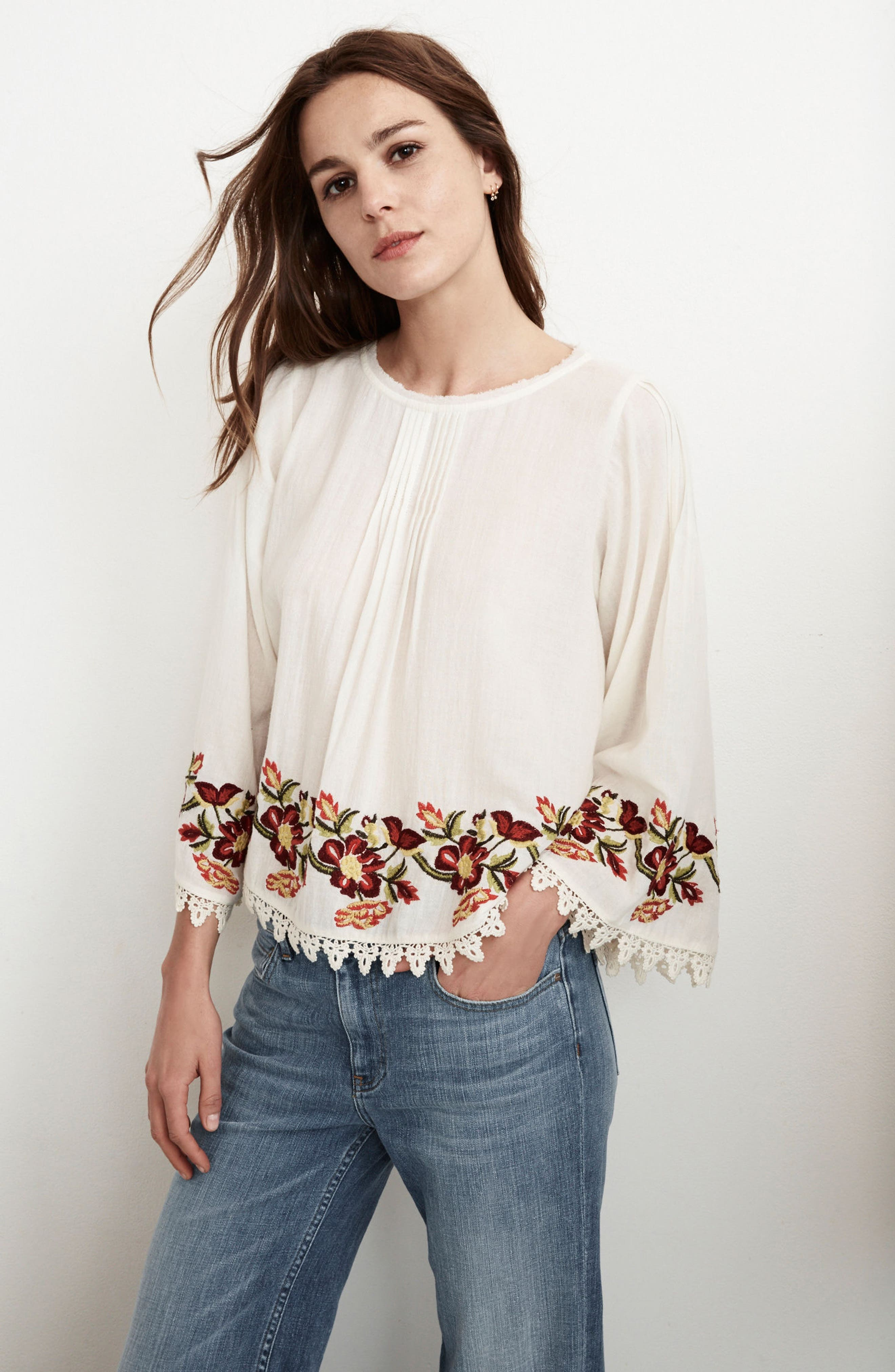 Embroidered Swing Blouse,                             Alternate thumbnail 7, color,                             902