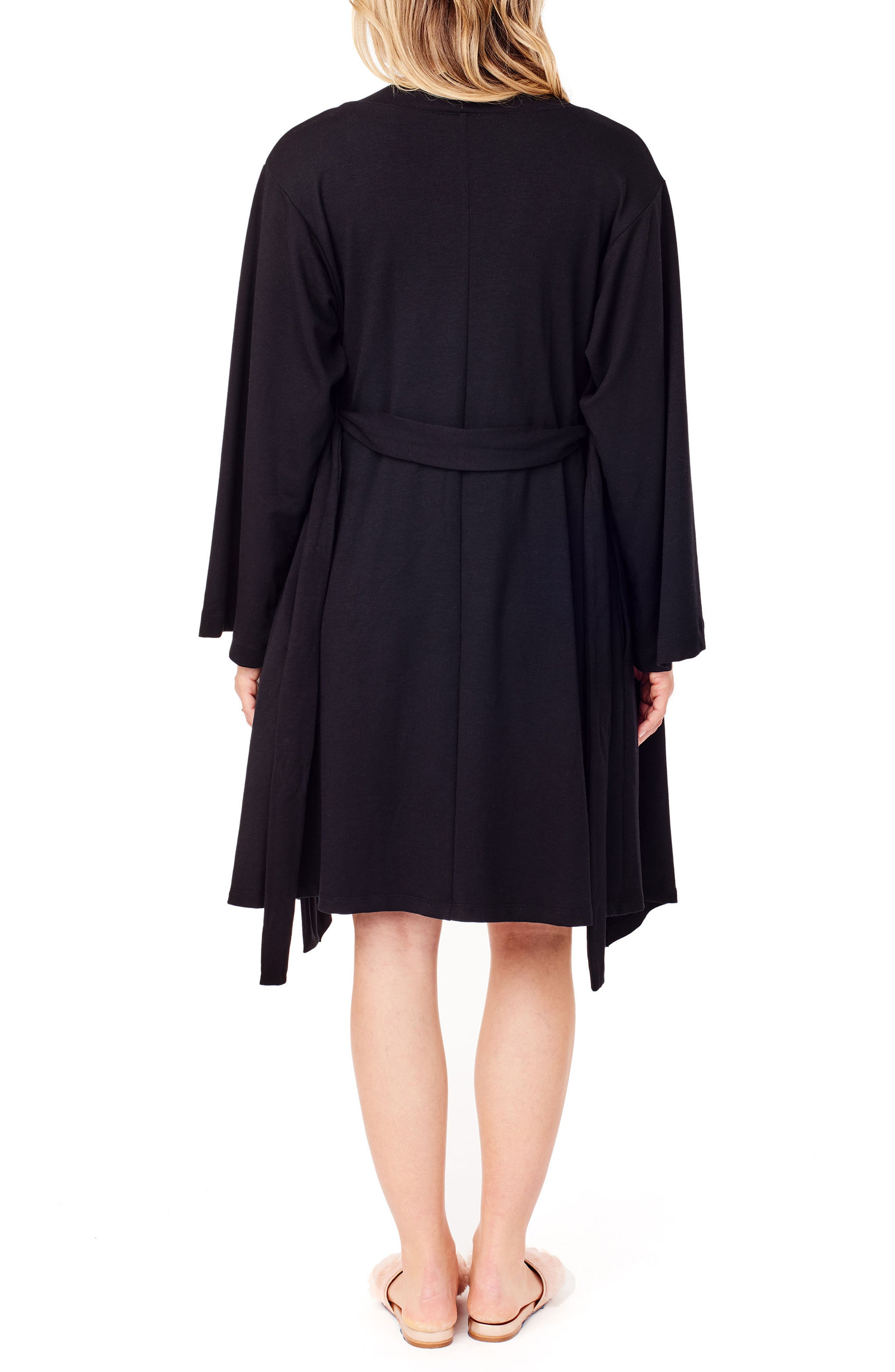 Kimono Lounge Maternity Robe,                             Alternate thumbnail 2, color,                             JET BLACK