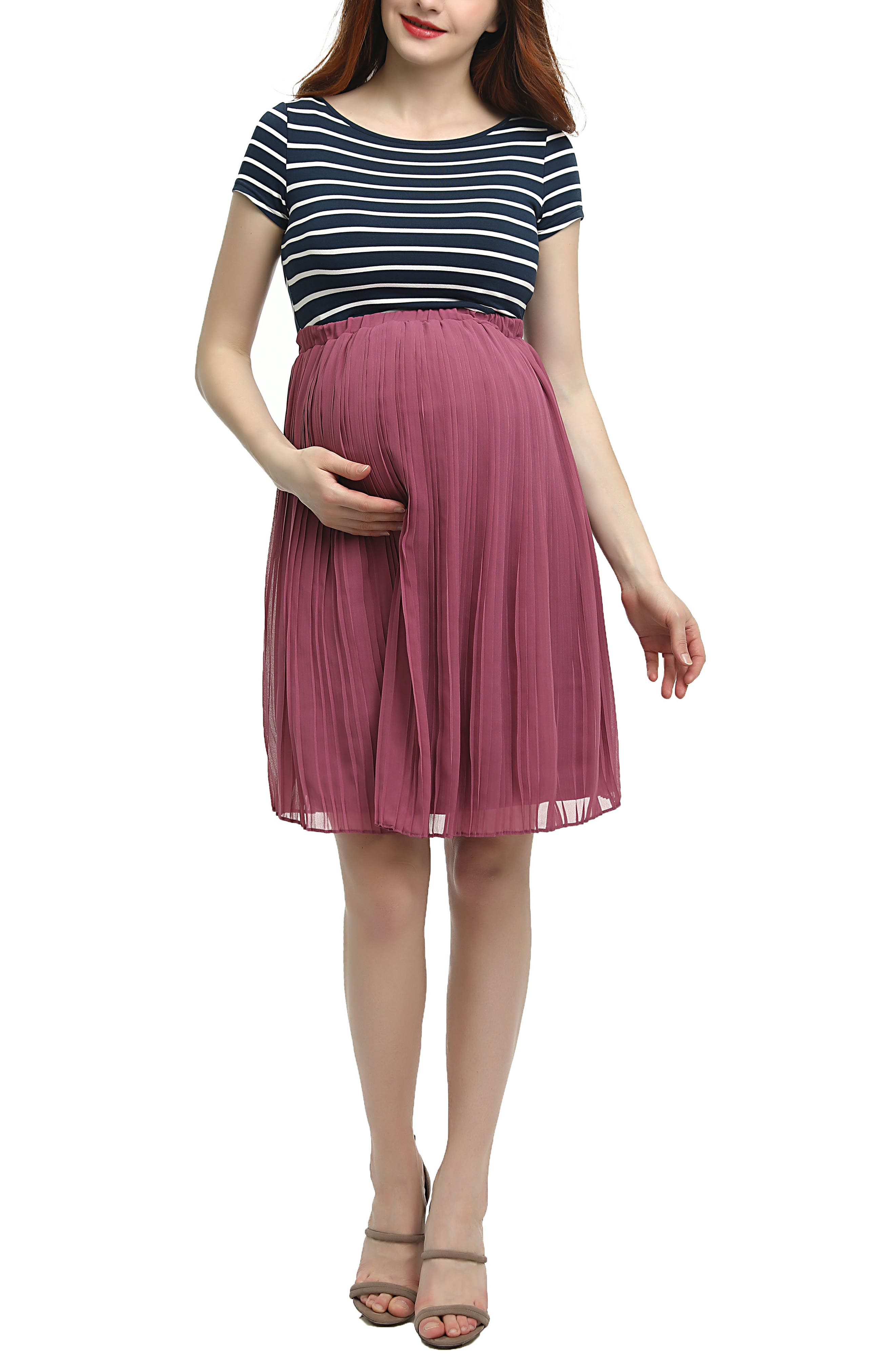 Everly Stripe Pleated Maternity Dress,                             Main thumbnail 1, color,                             MULTICOLORED