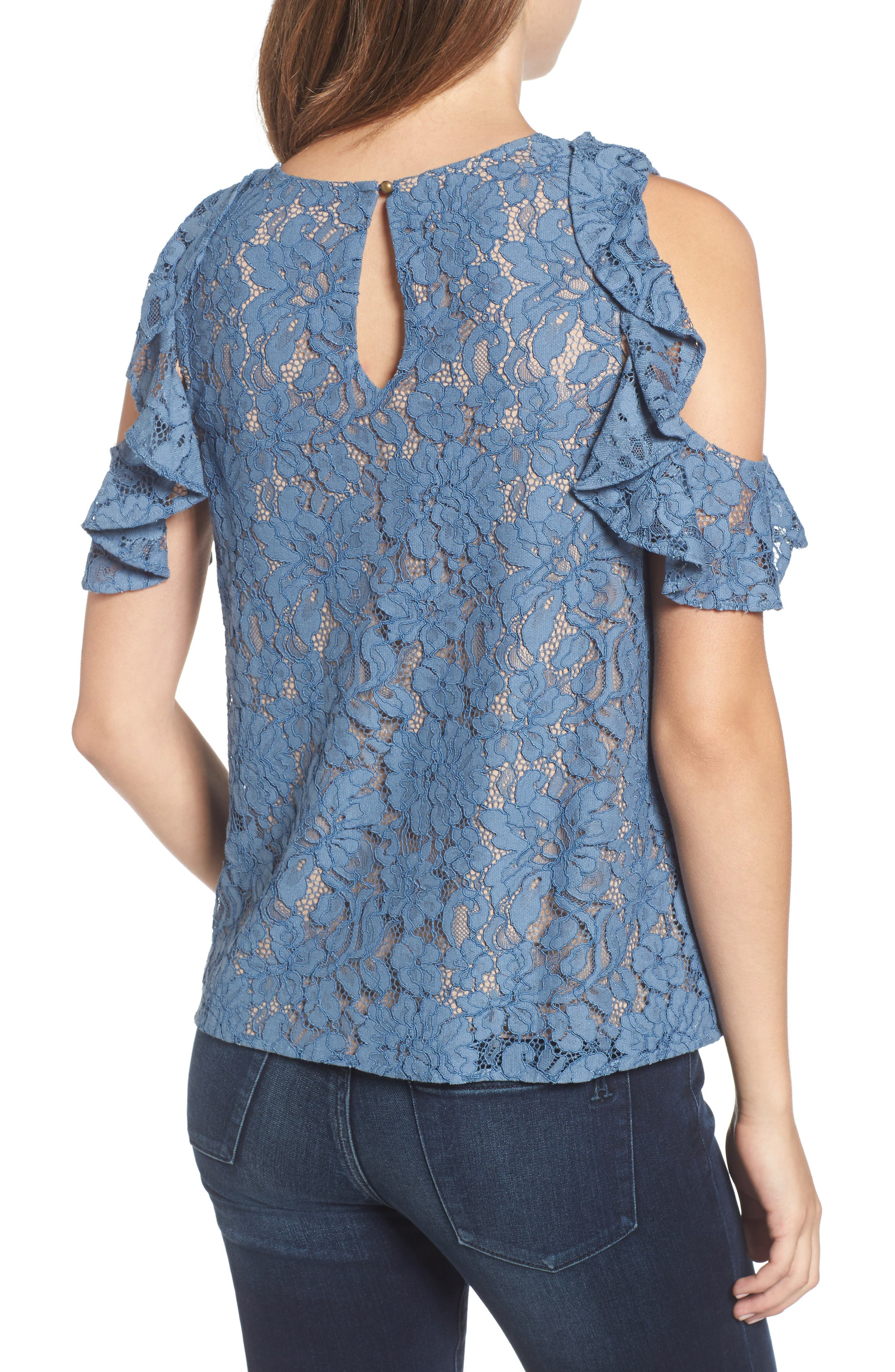 Ryder Ruffle Cold Shoulder Lace Top,                             Alternate thumbnail 2, color,                             400