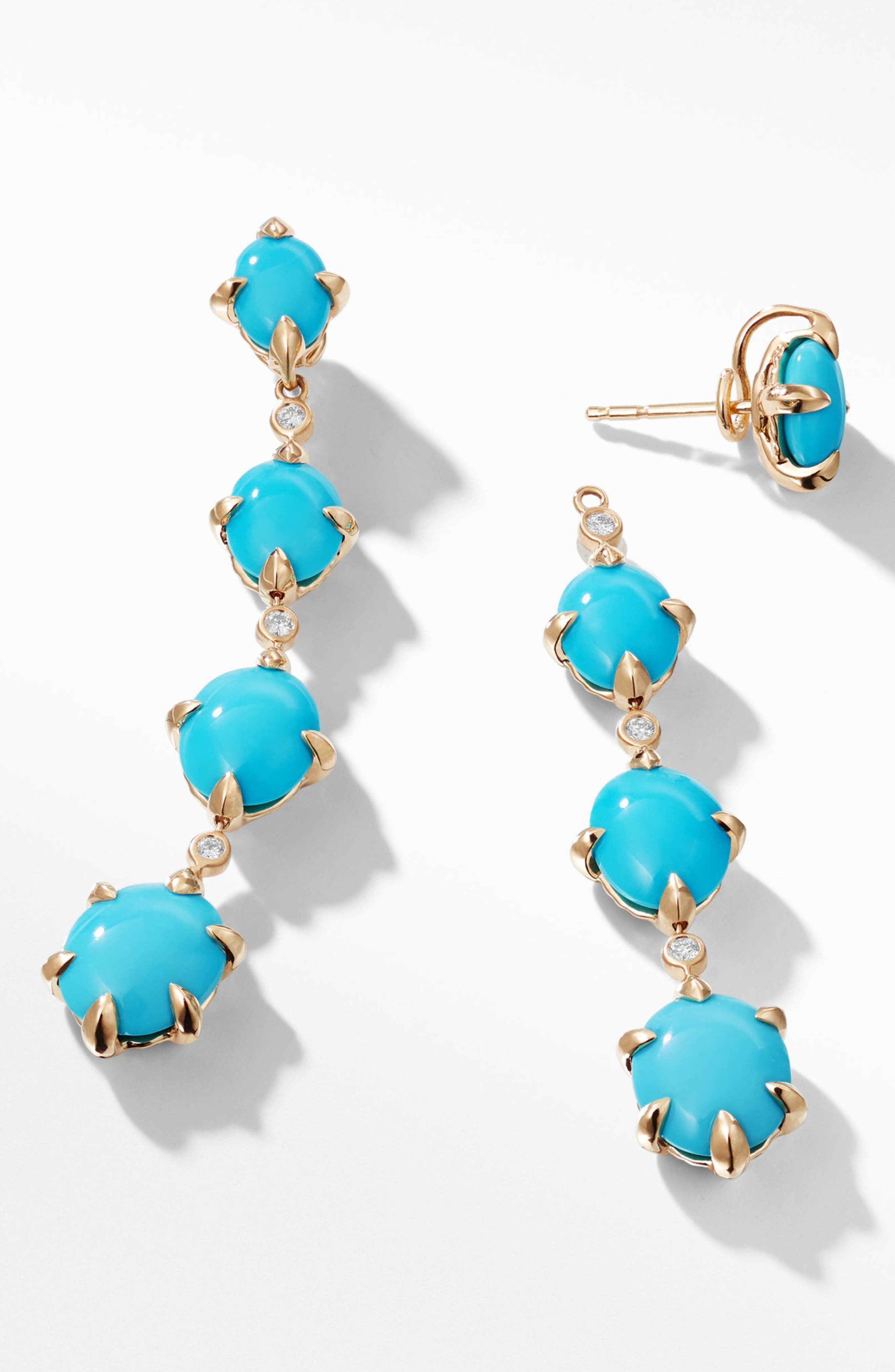 Chatelaine<sup>®</sup> 18k Gold Drop Earrings with Diamonds,                             Alternate thumbnail 2, color,                             GOLD/ DIAMOND/ TURQUOISE
