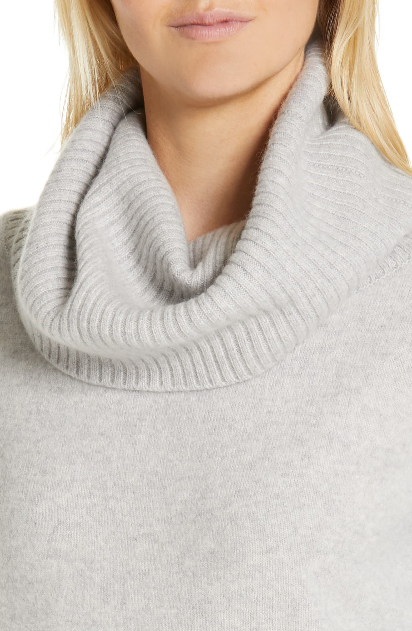 Boiled Cashmere Cowl Neck Sweater,                             Alternate thumbnail 4, color,                             GREY CLAY HEATHER