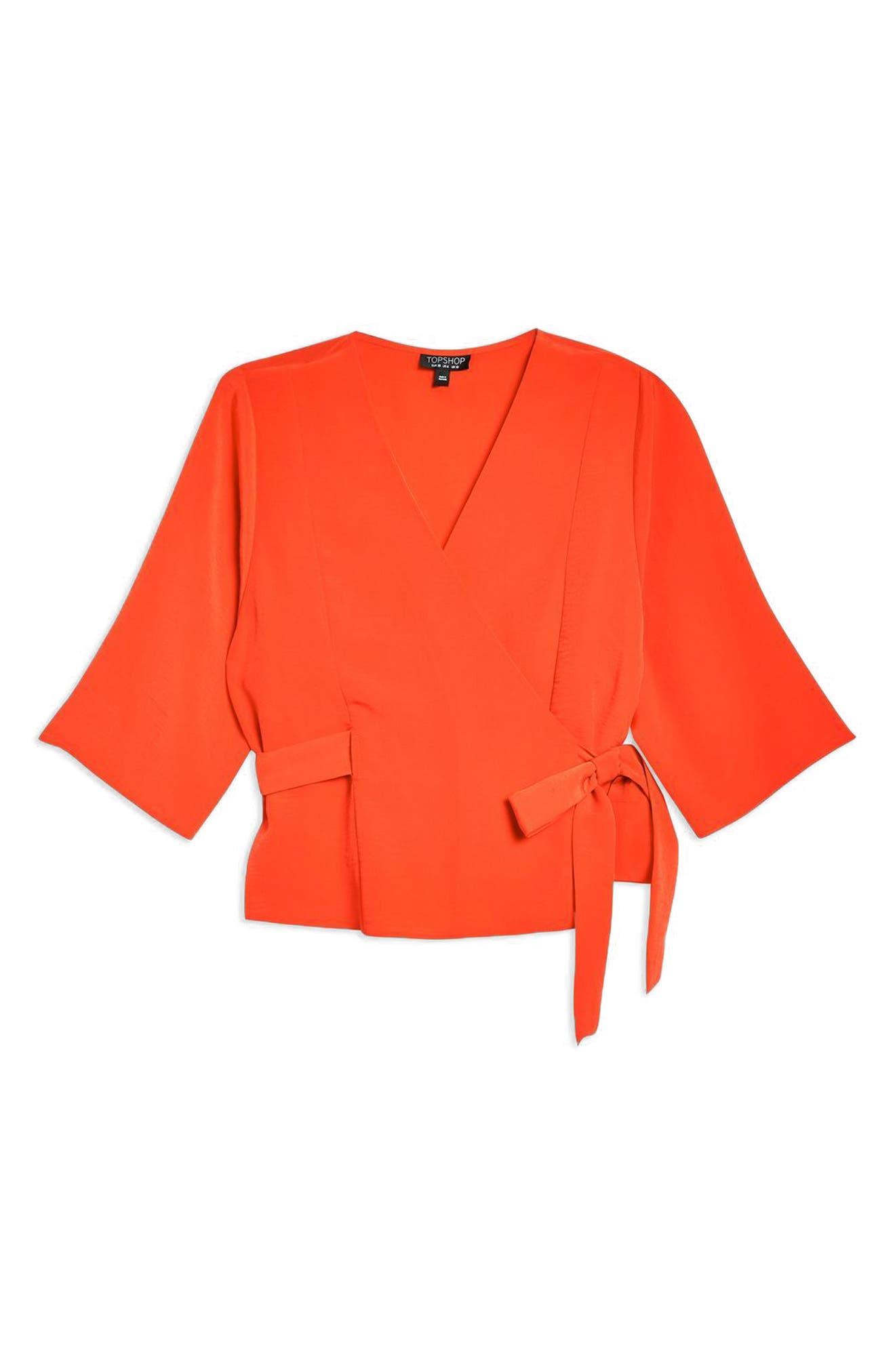 Kimono Wrap Blouse,                             Alternate thumbnail 3, color,                             600
