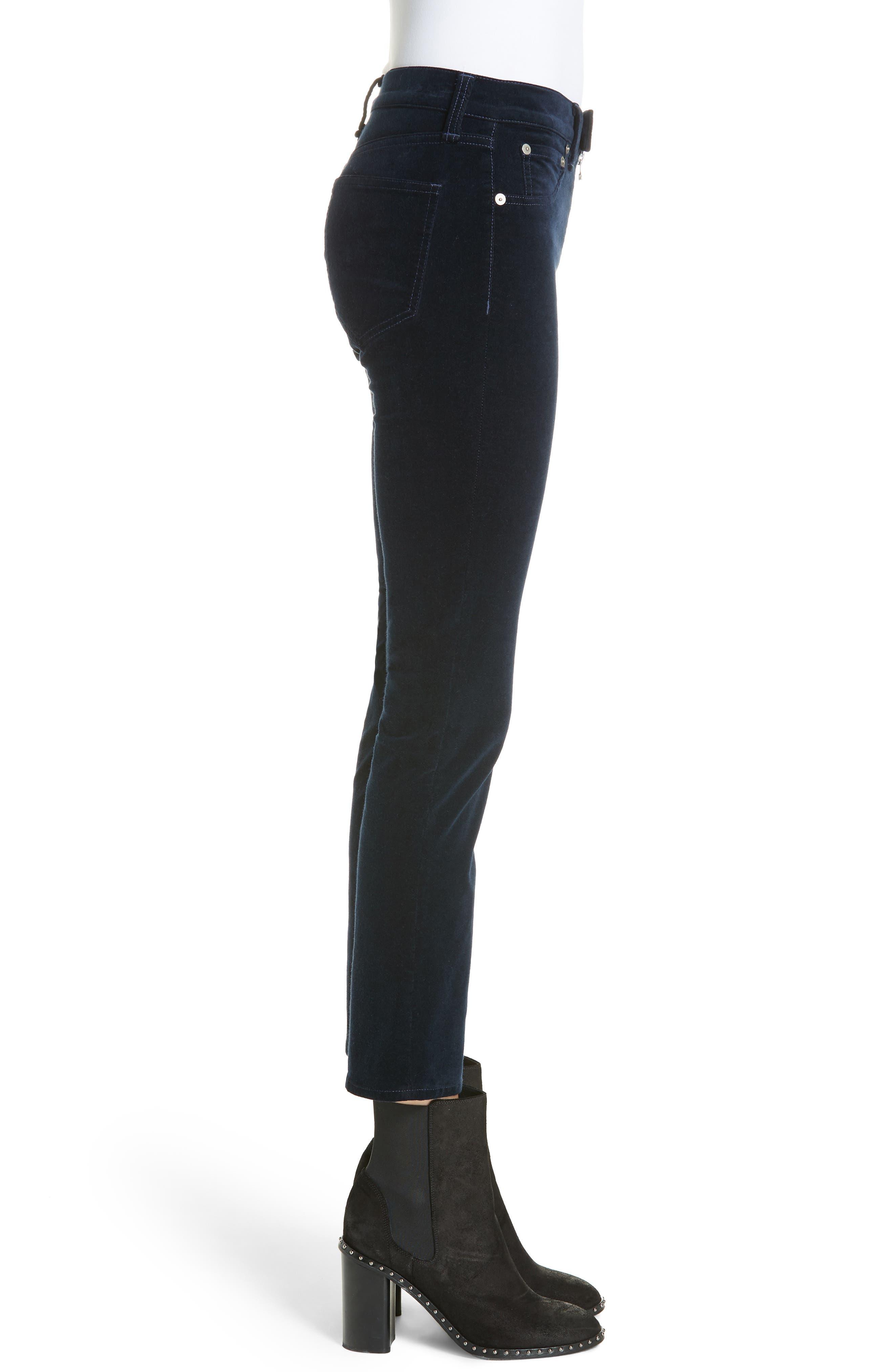Dojo High Waist Velvet Crop Skinny Pants,                             Alternate thumbnail 3, color,                             NAVY