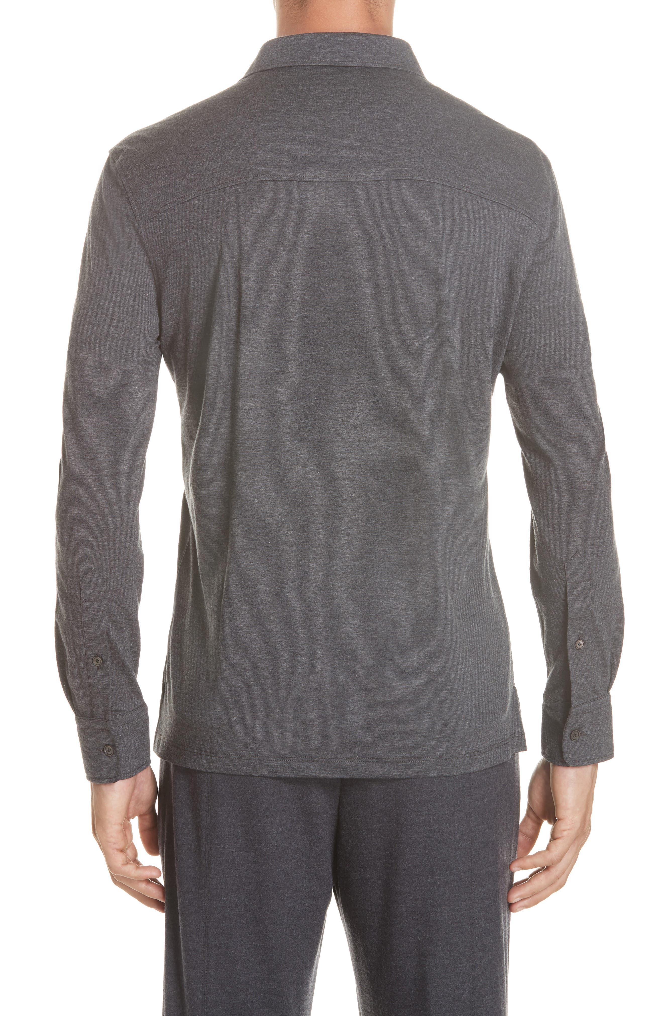 Wool & Cotton Long Sleeve Polo Shirt,                             Alternate thumbnail 2, color,                             CHARCOAL