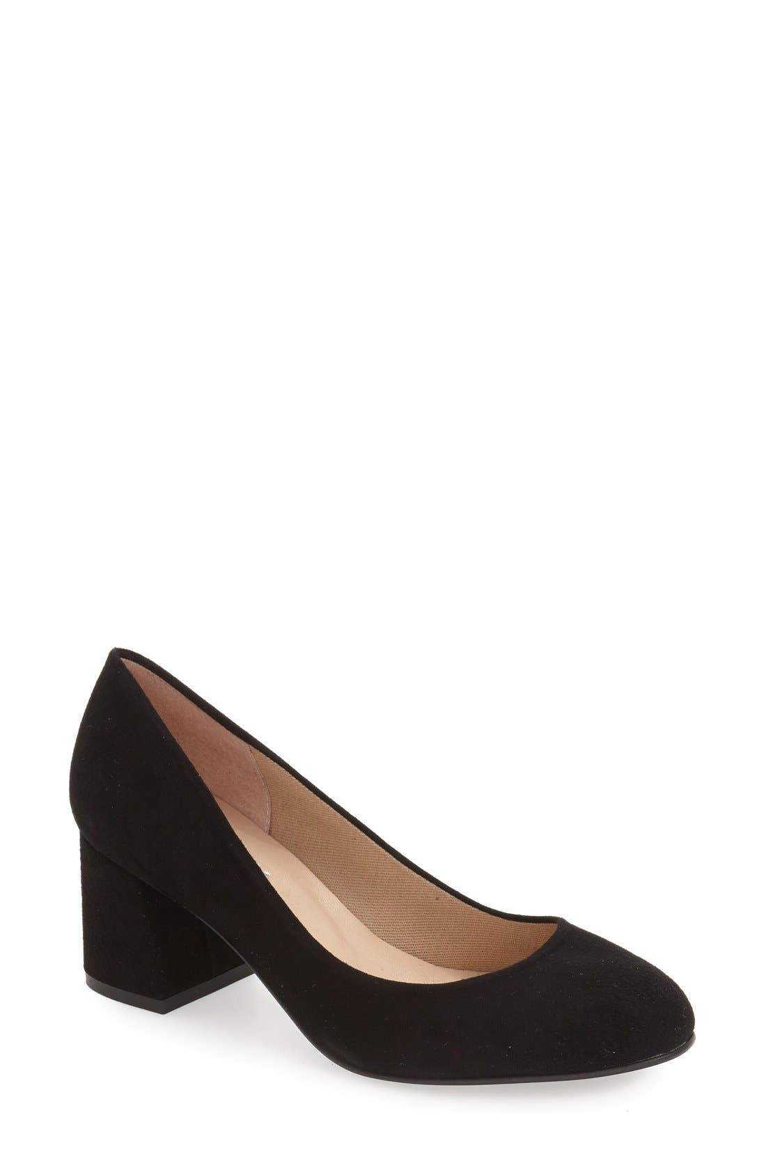 FRENCH SOLE,                             'Trance' Block Heel Pump,                             Main thumbnail 1, color,                             001