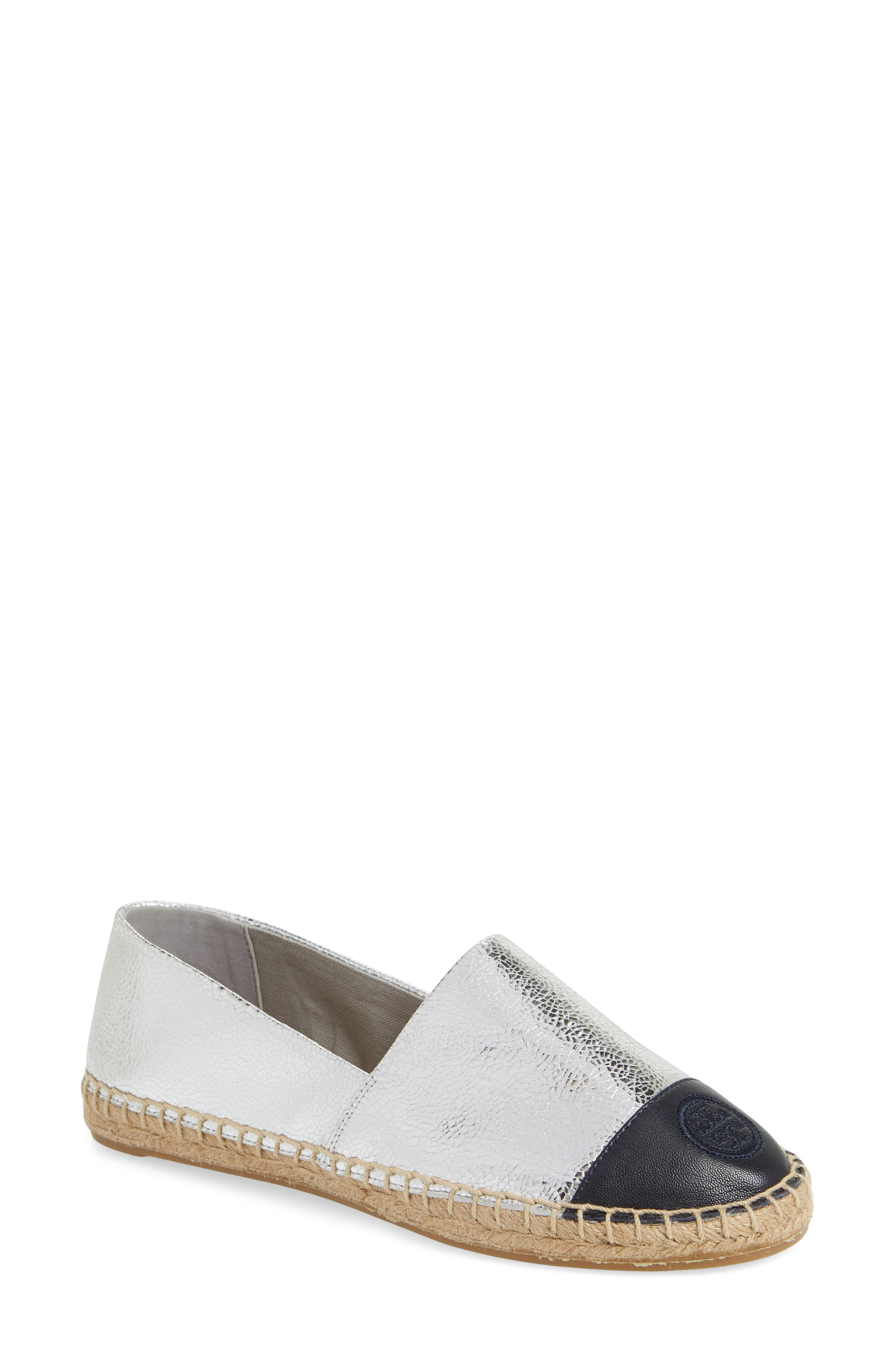 Colorblock Espadrille Flat,                             Alternate thumbnail 2, color,                             SILVER/ TORY NAVY