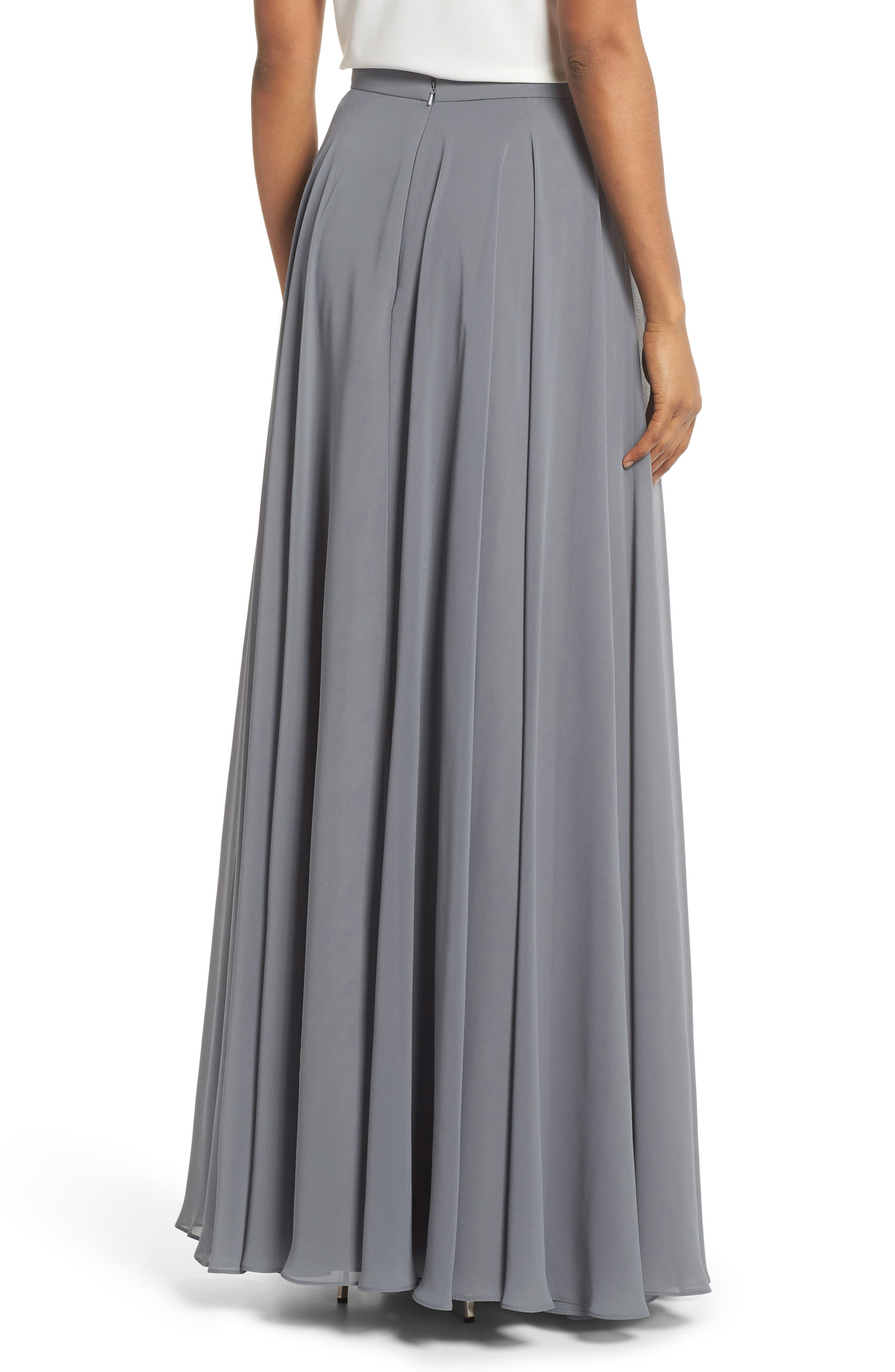 Hampton Long A-Line Chiffon Skirt,                             Alternate thumbnail 2, color,                             DENMARK BLUE