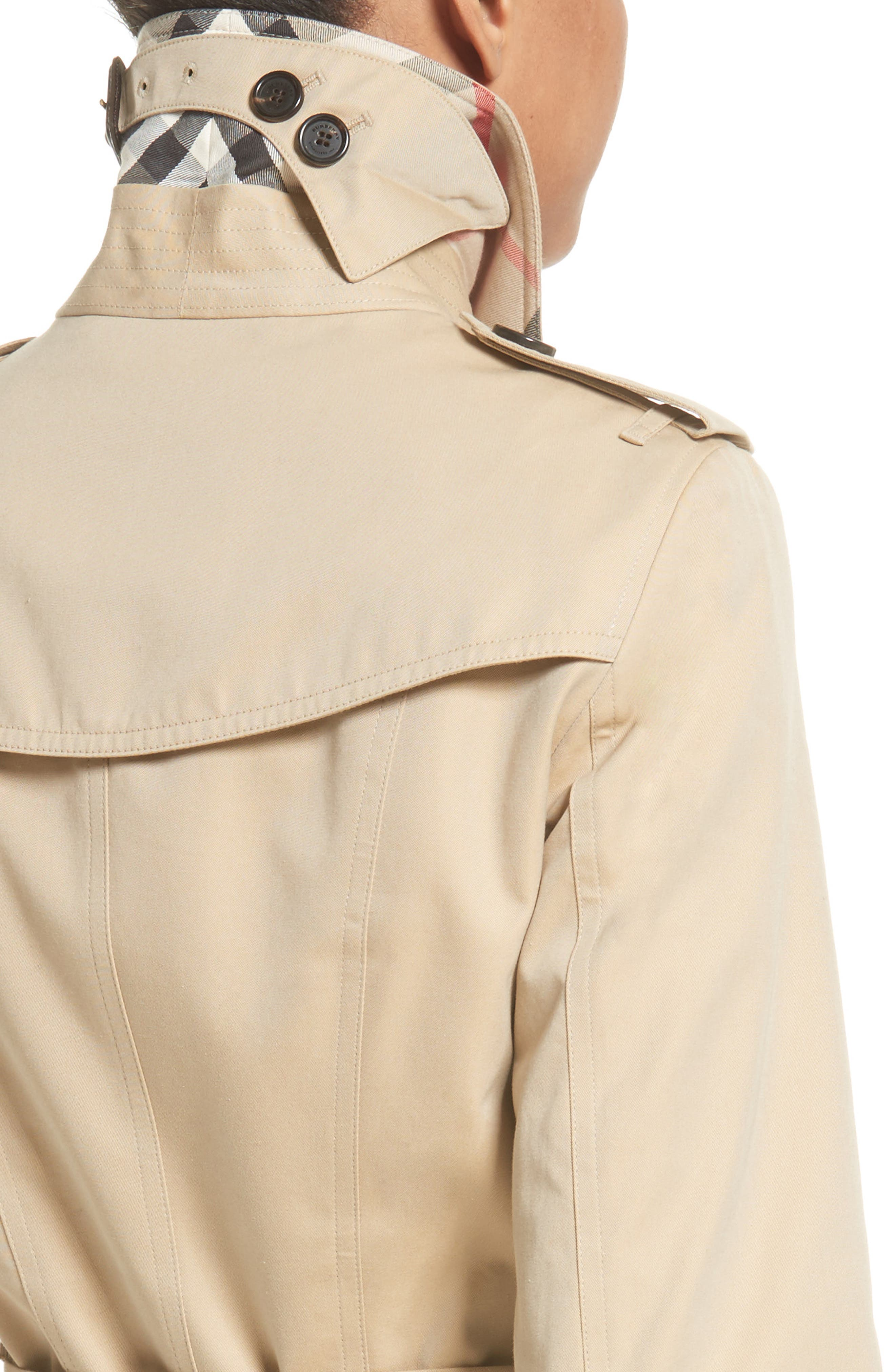 BURBERRY,                             Sandringham Mid Slim Trench Coat,                             Alternate thumbnail 4, color,                             HONEY