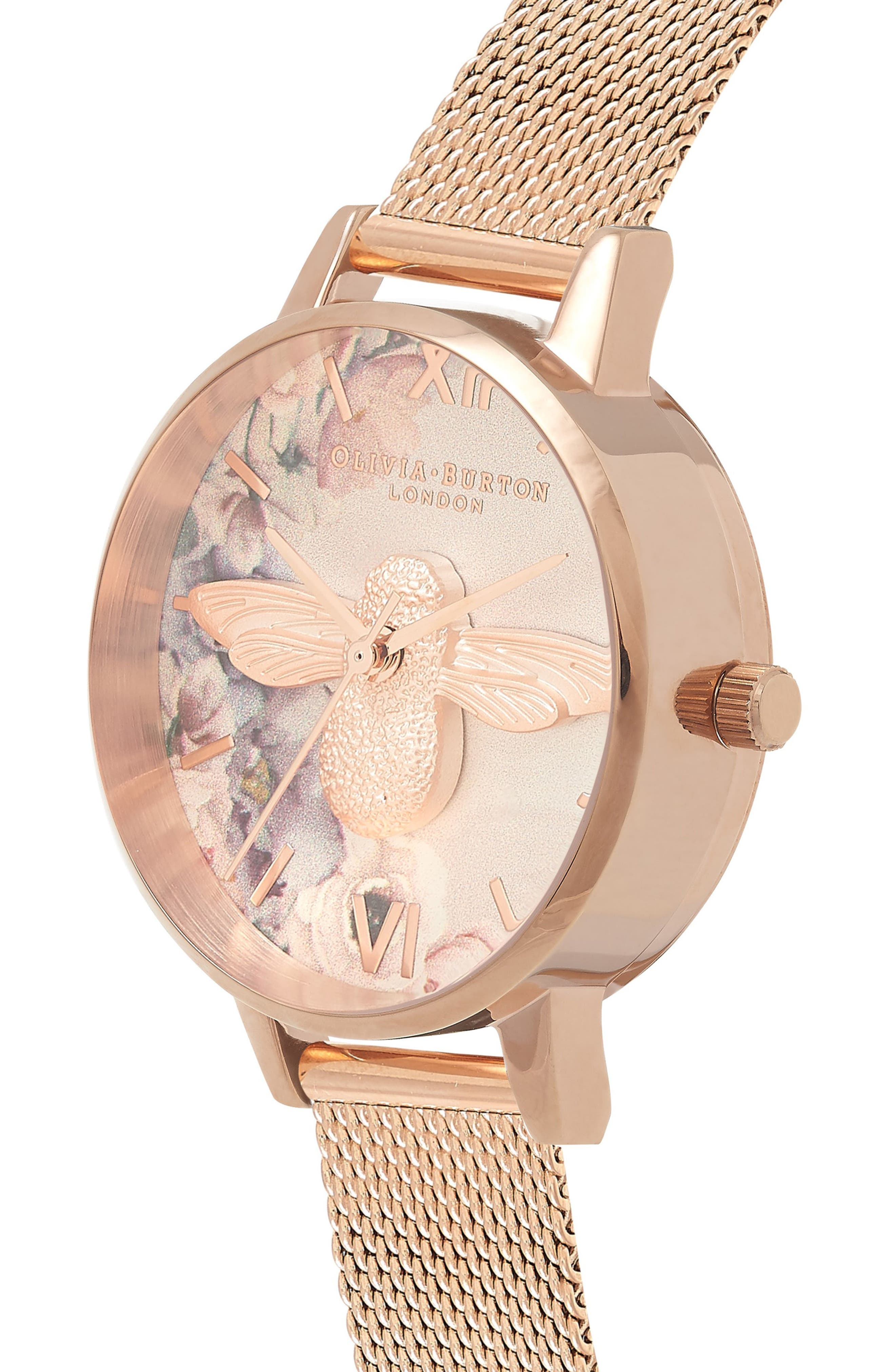 Watercolor Floral Mesh Strap Watch, 30mm,                             Alternate thumbnail 3, color,                             ROSE GOLD/ BEE/ ROSE GOLD