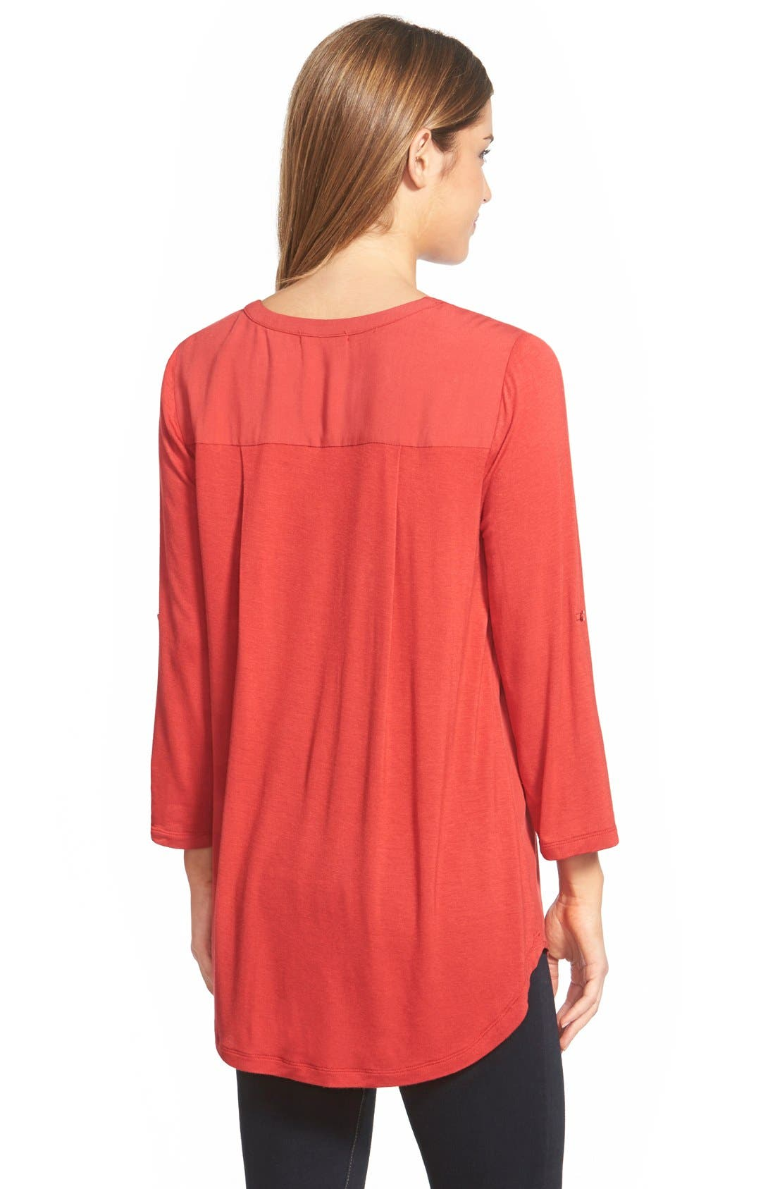 Mixed Media V-Neck Tunic,                             Alternate thumbnail 201, color,