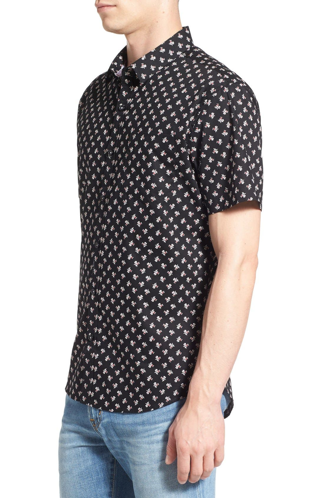 'Crossfire' Floral Print Short Sleeve Woven Shirt,                             Alternate thumbnail 6, color,