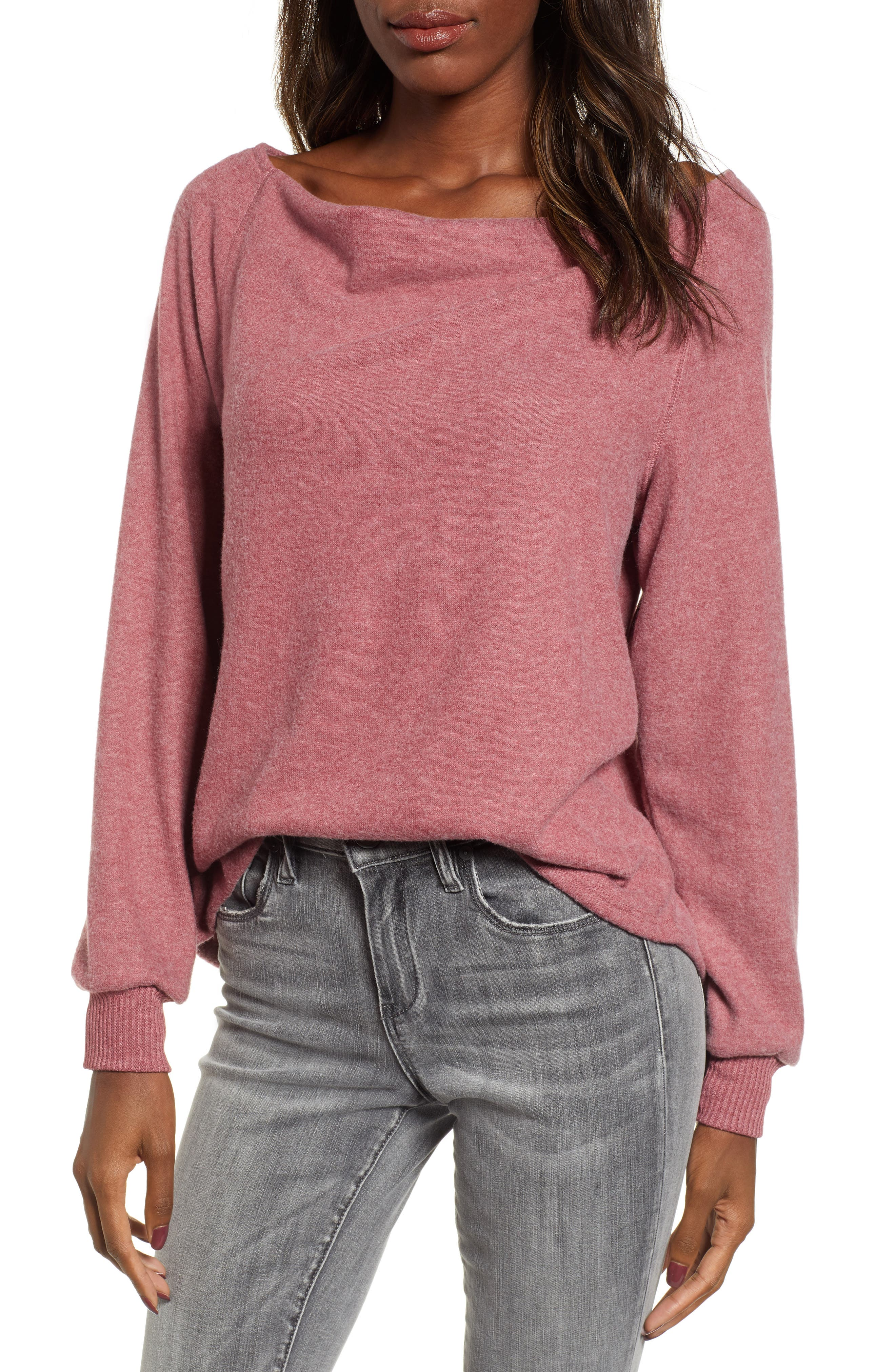 PROJECT SOCIAL T Elm Knit Cowl Neck Top in Beet Red