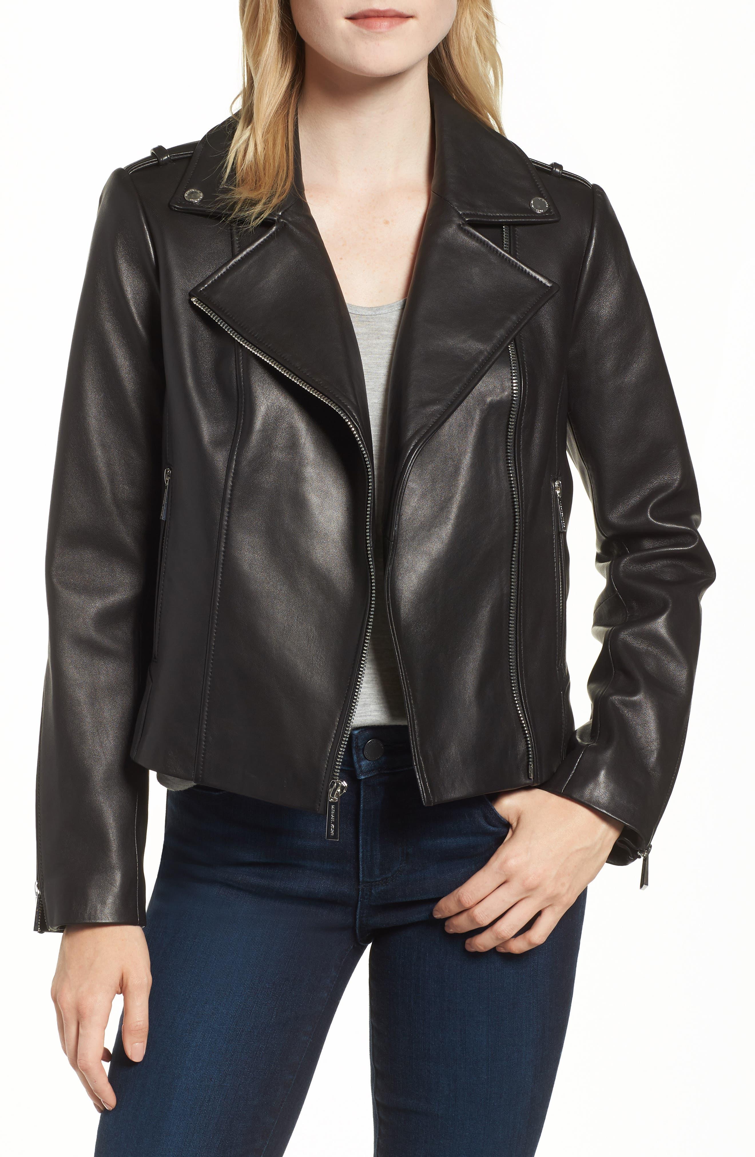 Classic Leather Moto Jacket,                             Main thumbnail 1, color,