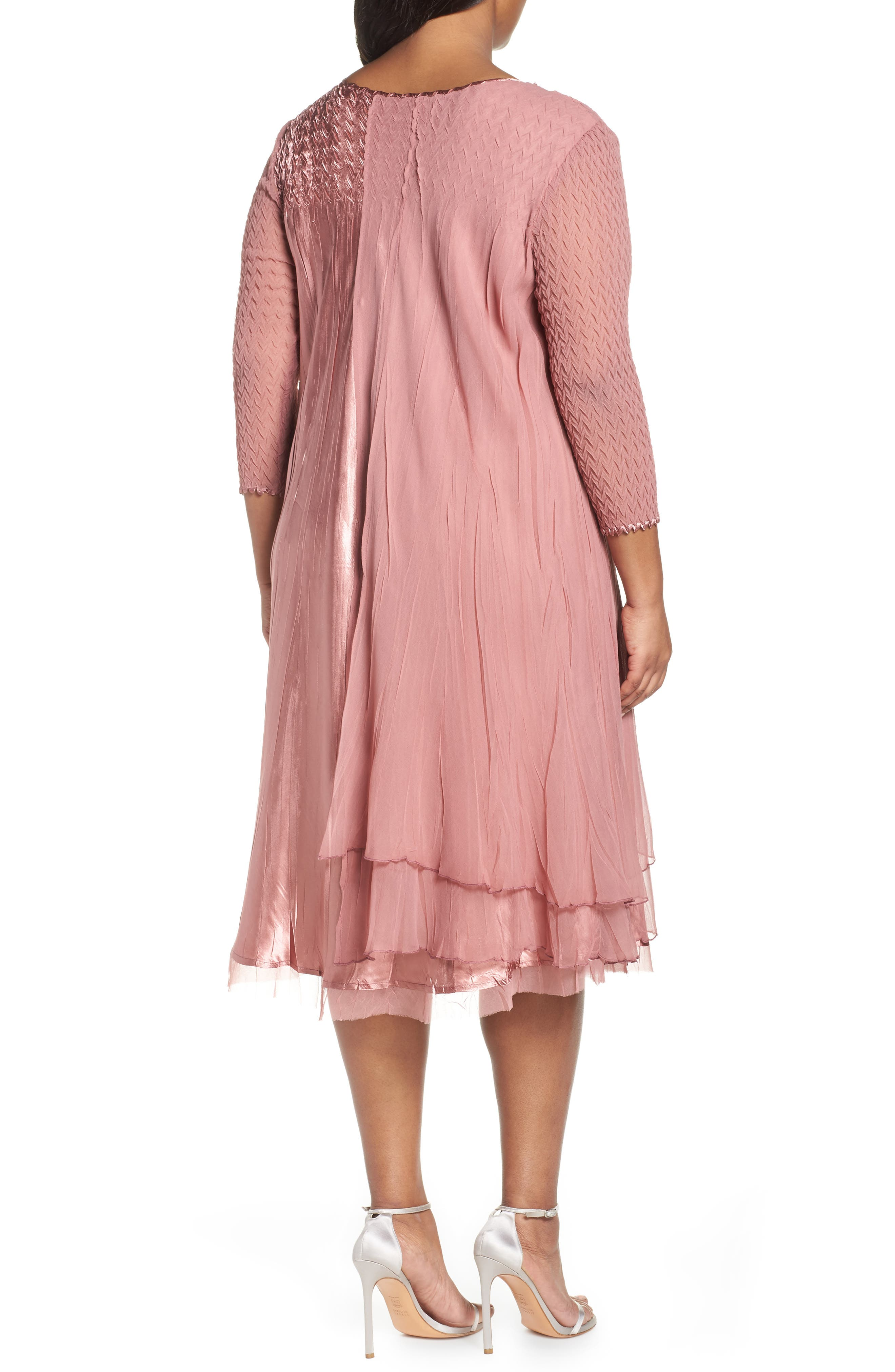 Tiered A-Line Dress,                             Alternate thumbnail 2, color,                             ROSEWOOD