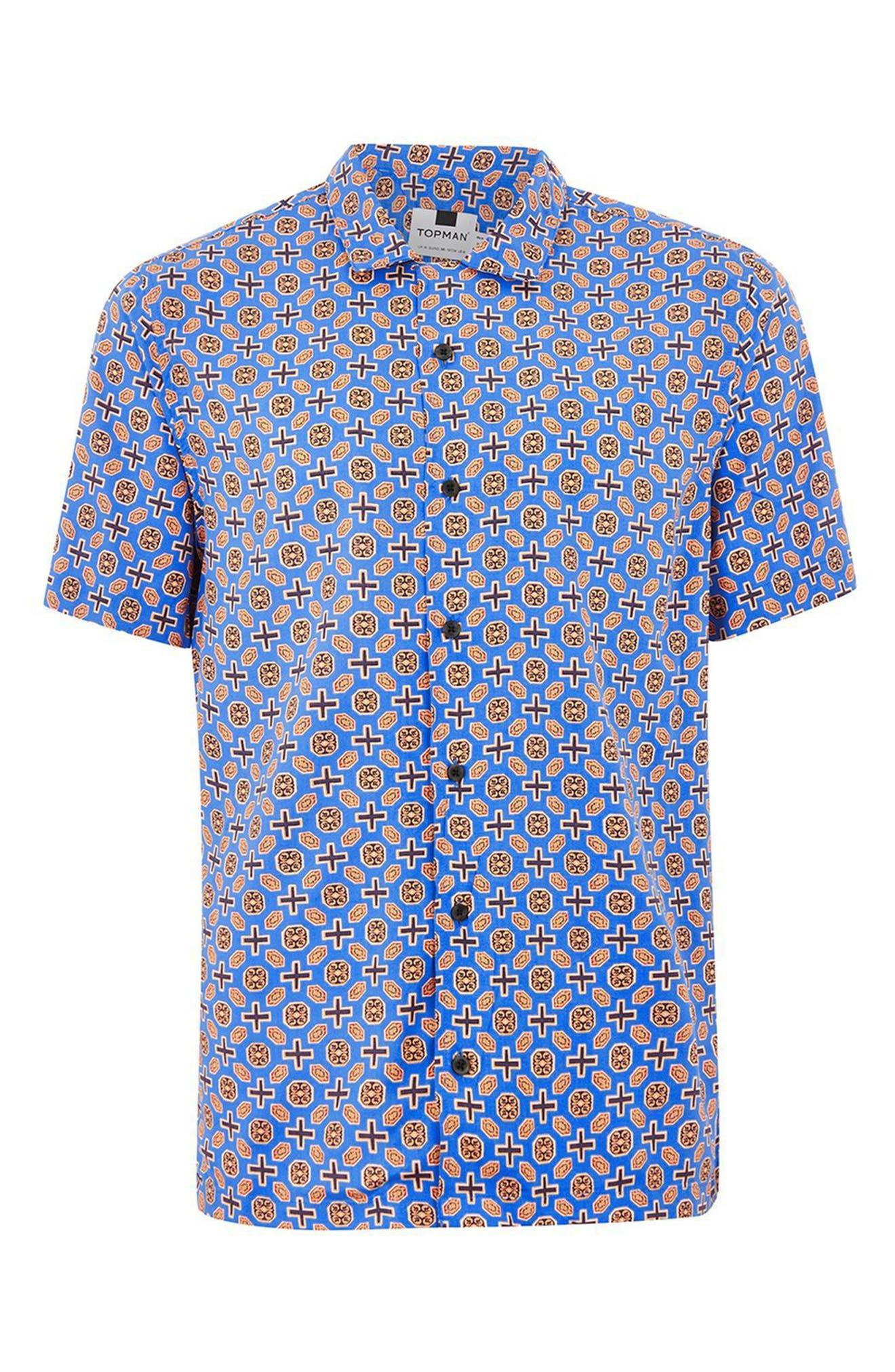 Classic Fit Geo Print Woven Shirt,                             Alternate thumbnail 4, color,                             BLUE MULTI