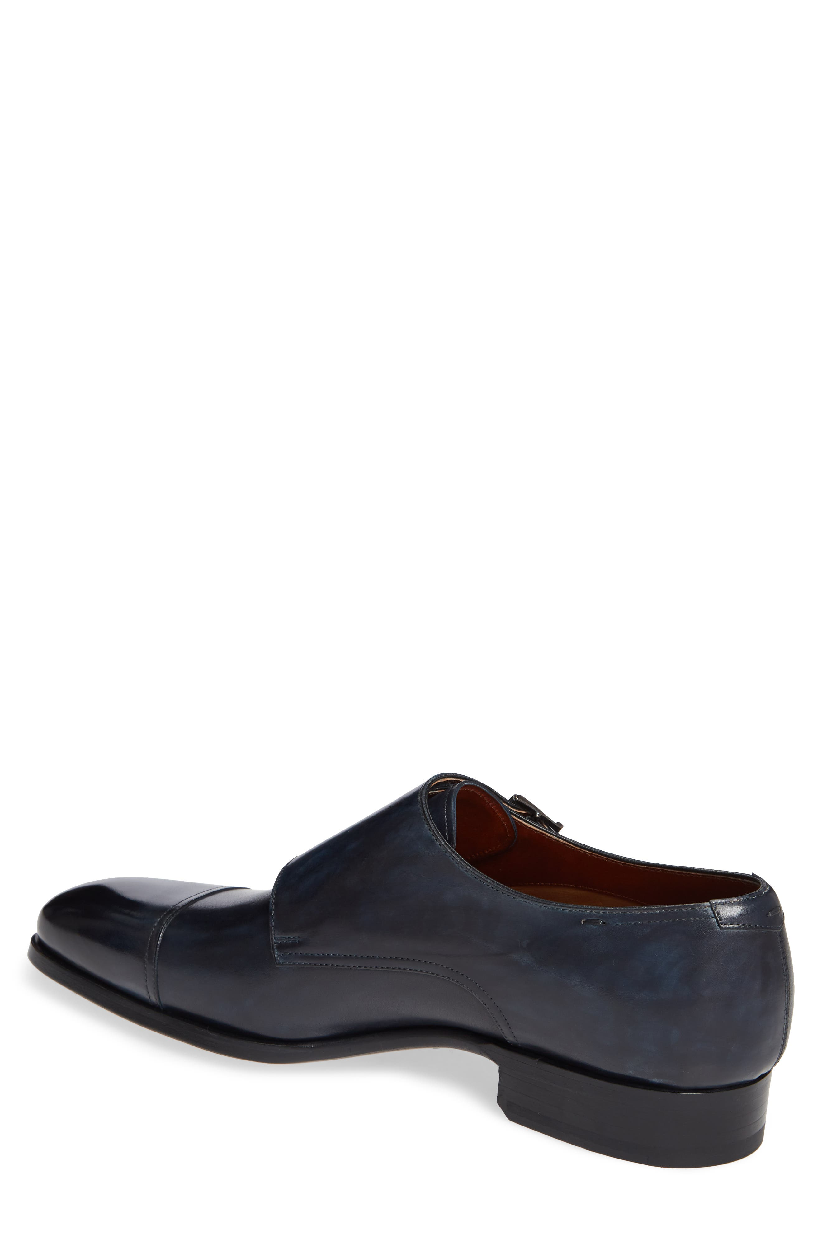 MAGNANNI,                             Wooster Double Monk Strap Shoe,                             Alternate thumbnail 2, color,                             NAVY LEATHER