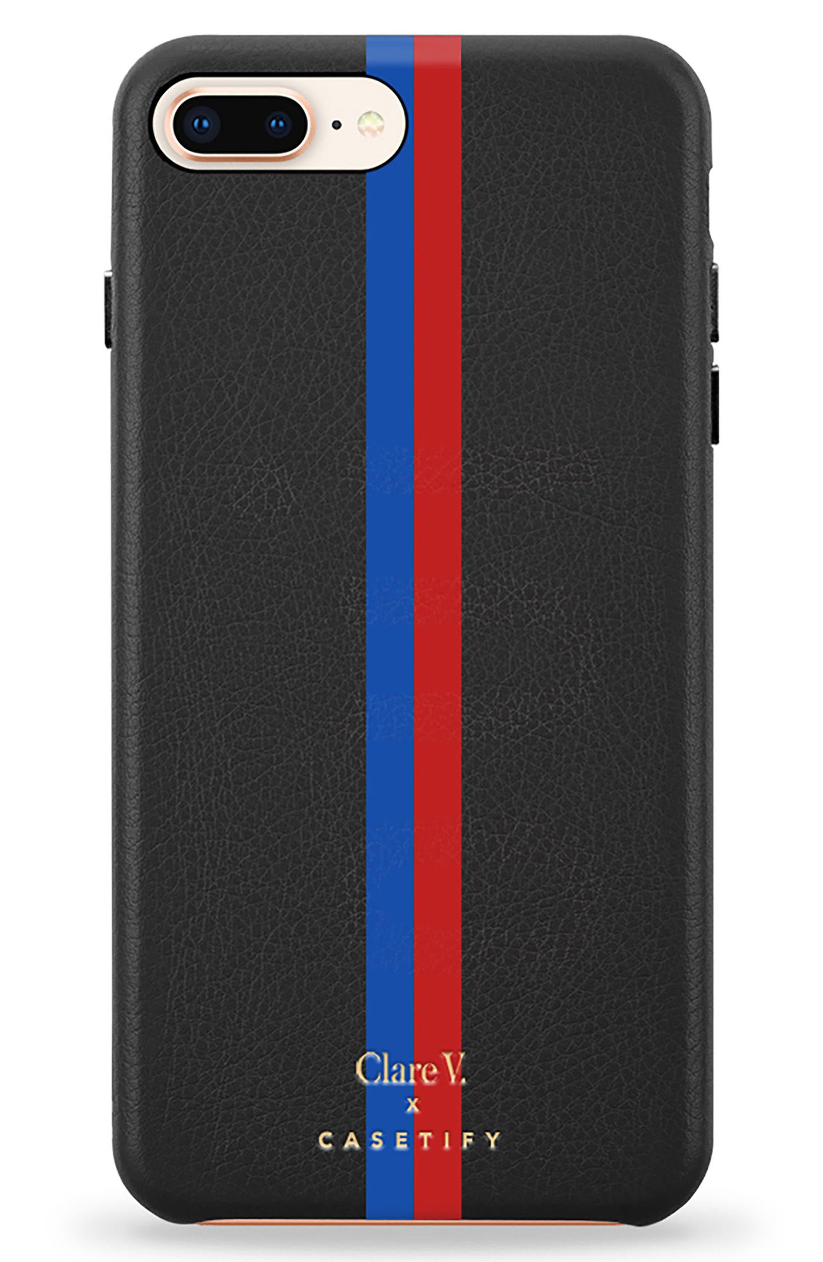 x Clare V. Stripe Leather iPhone 7/8 & 7/8 Plus Case,                         Main,                         color, 001
