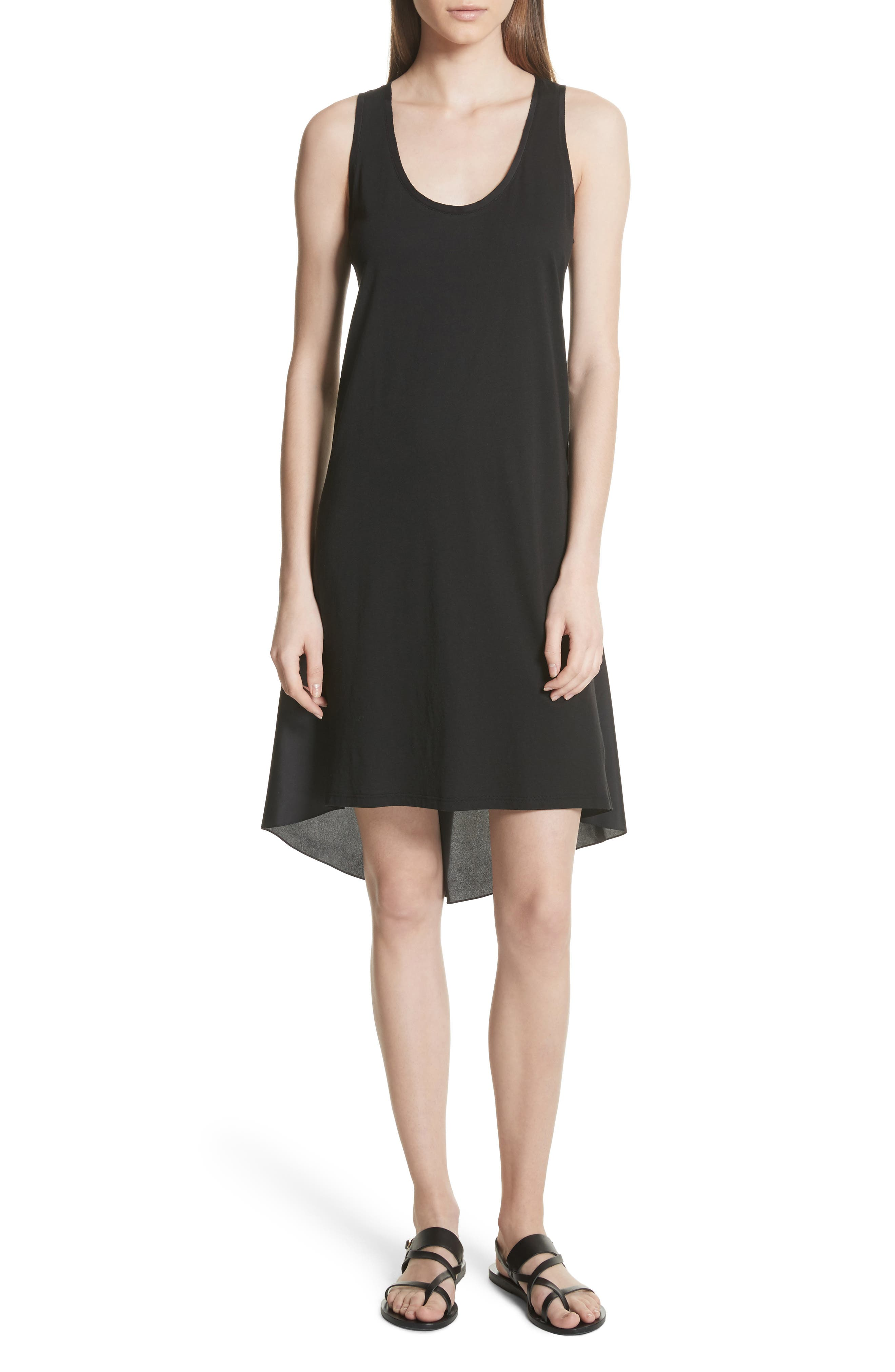 Plume Jersey Scoop Neck Swing Dress,                             Main thumbnail 1, color,                             001