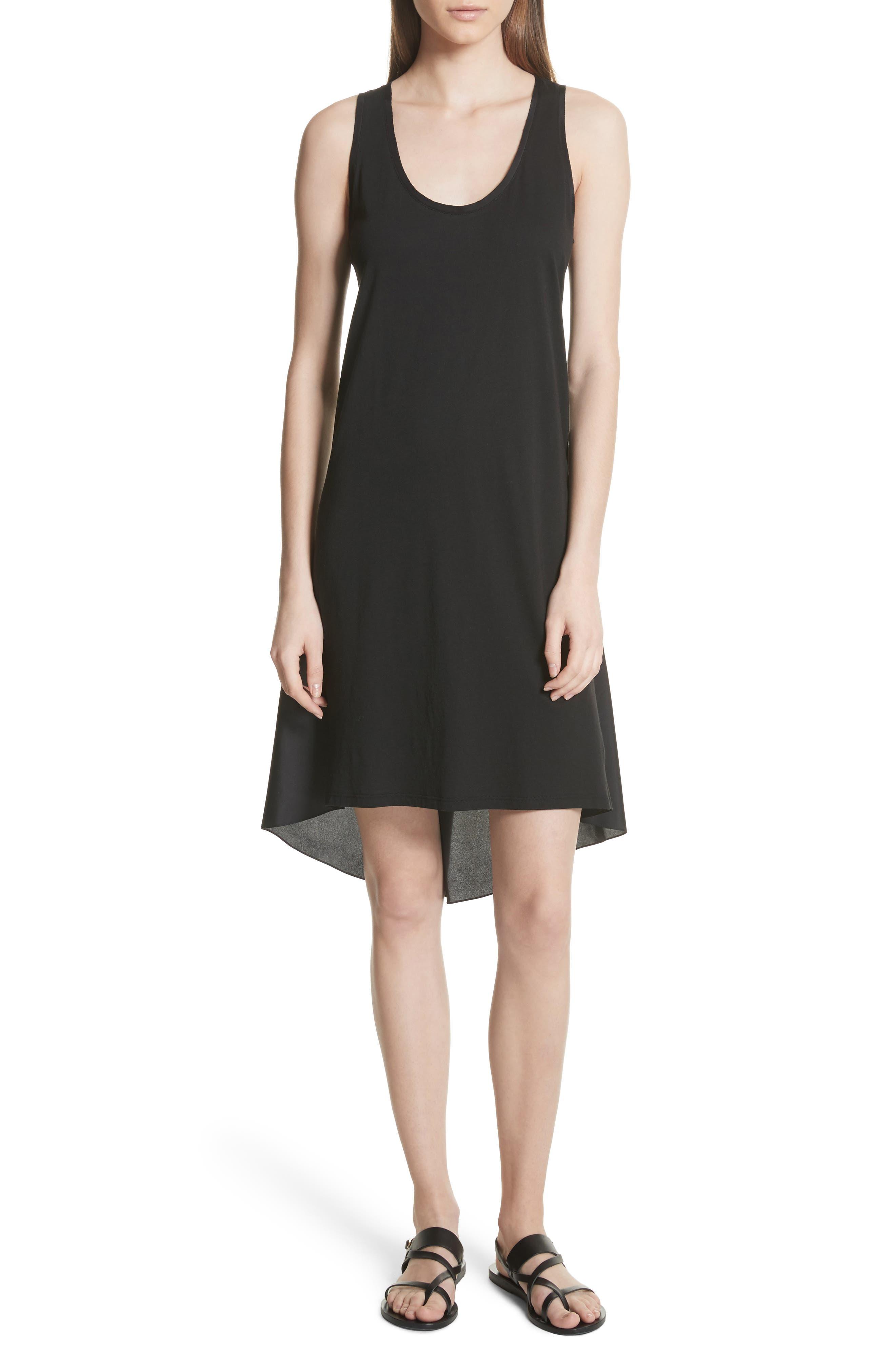 Plume Jersey Scoop Neck Swing Dress,                         Main,                         color, 001