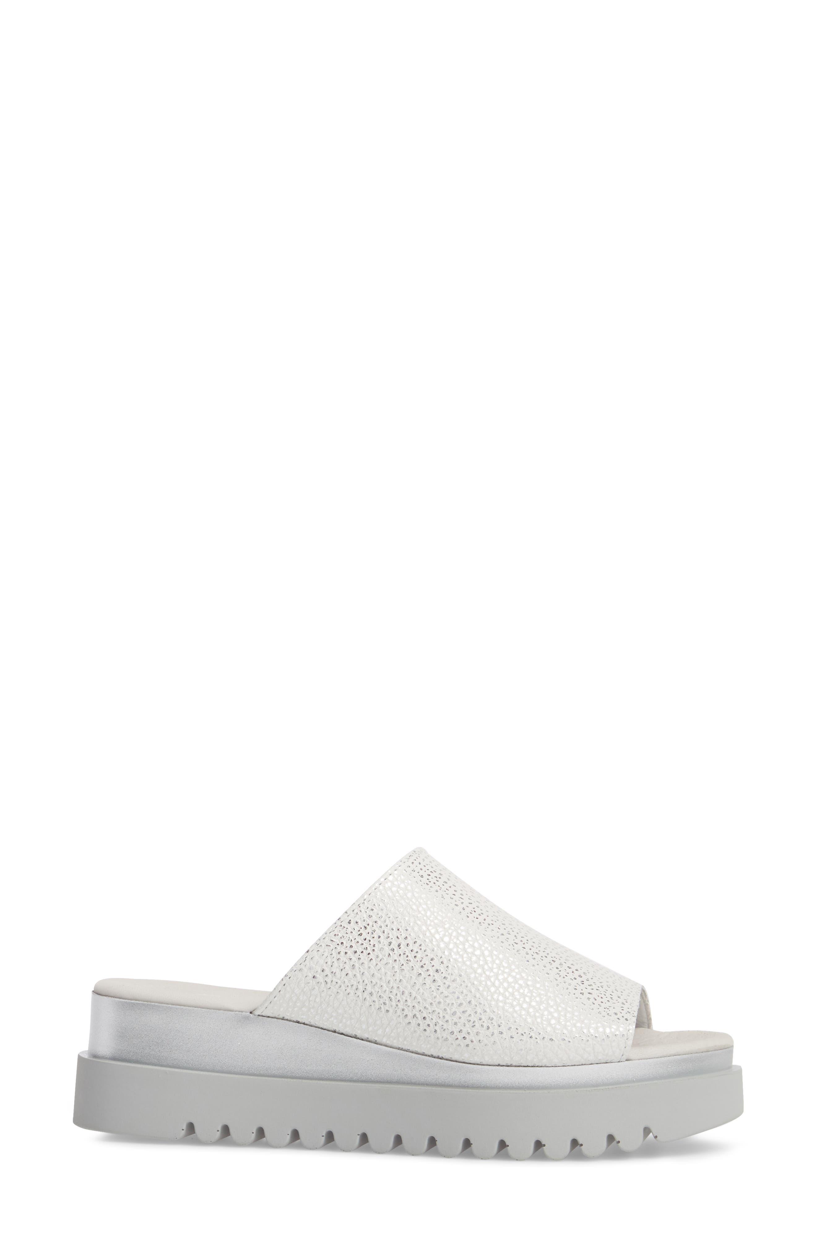 Platform Slide Sandal,                             Alternate thumbnail 3, color,                             WHITE LEATHER