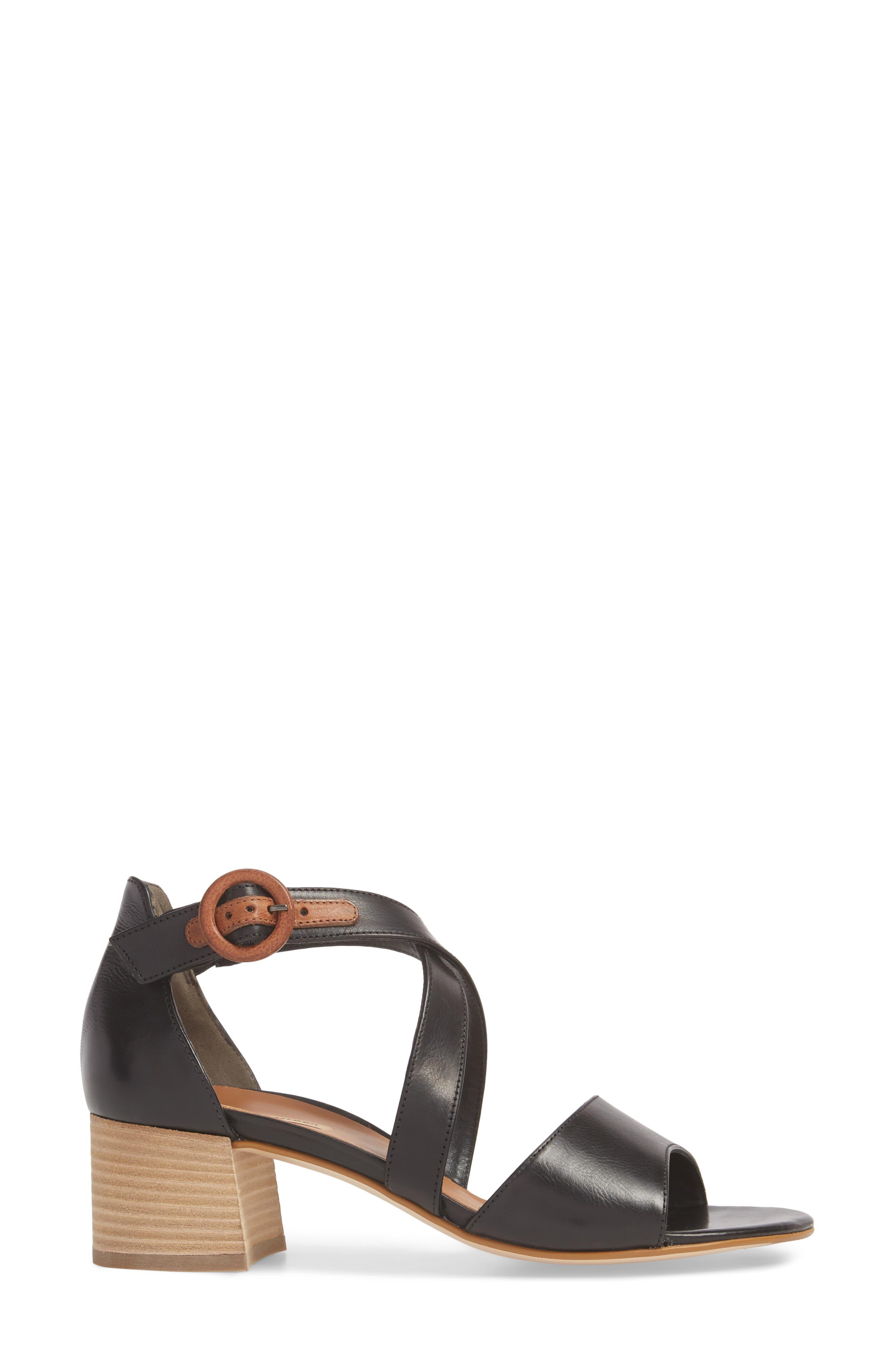 Sally Quarter Strap Sandal,                             Alternate thumbnail 3, color,                             BLACK LEATHER