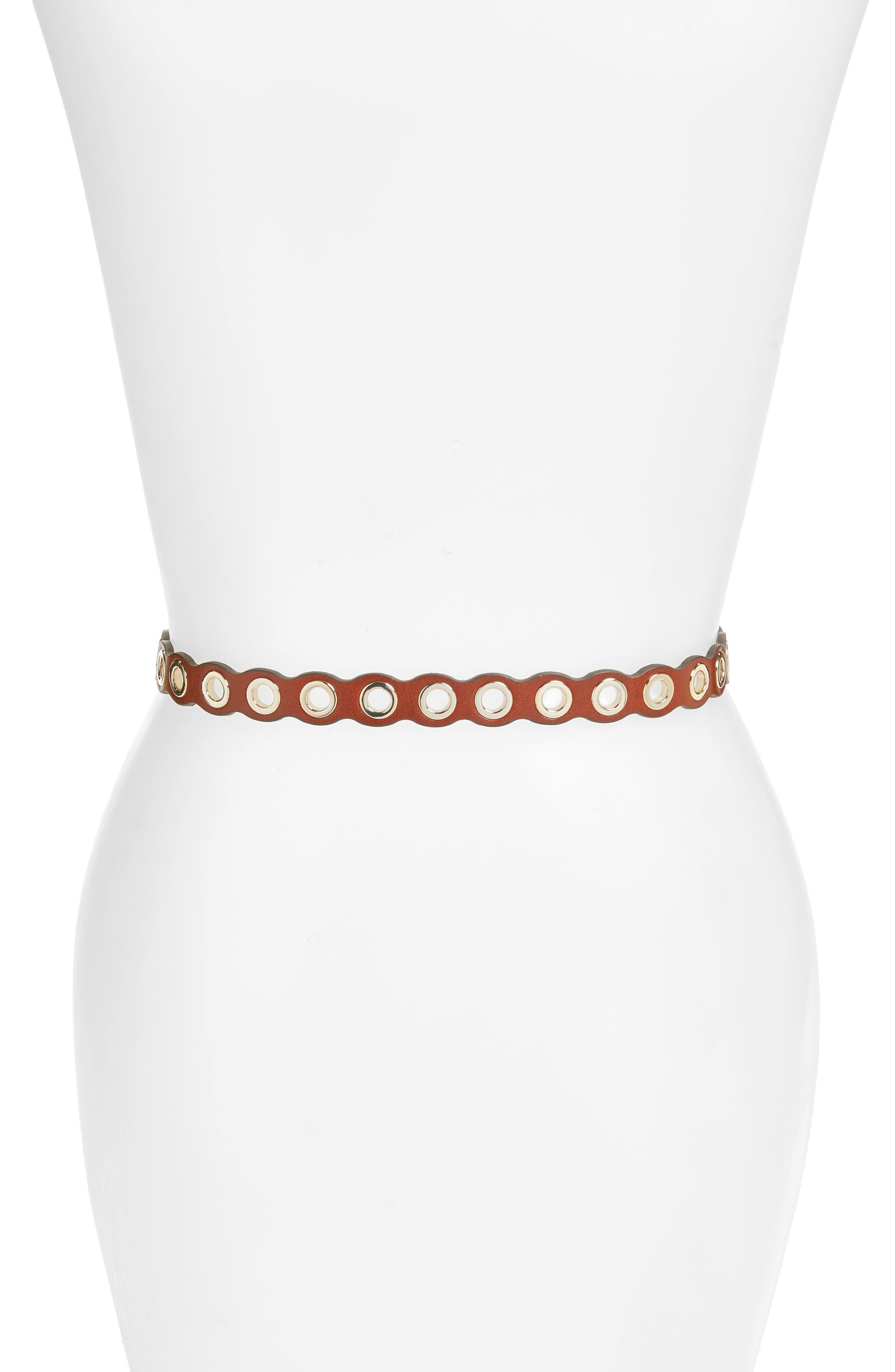 Rebeccca Minkoff Scalloped Grommet Belt,                             Alternate thumbnail 6, color,
