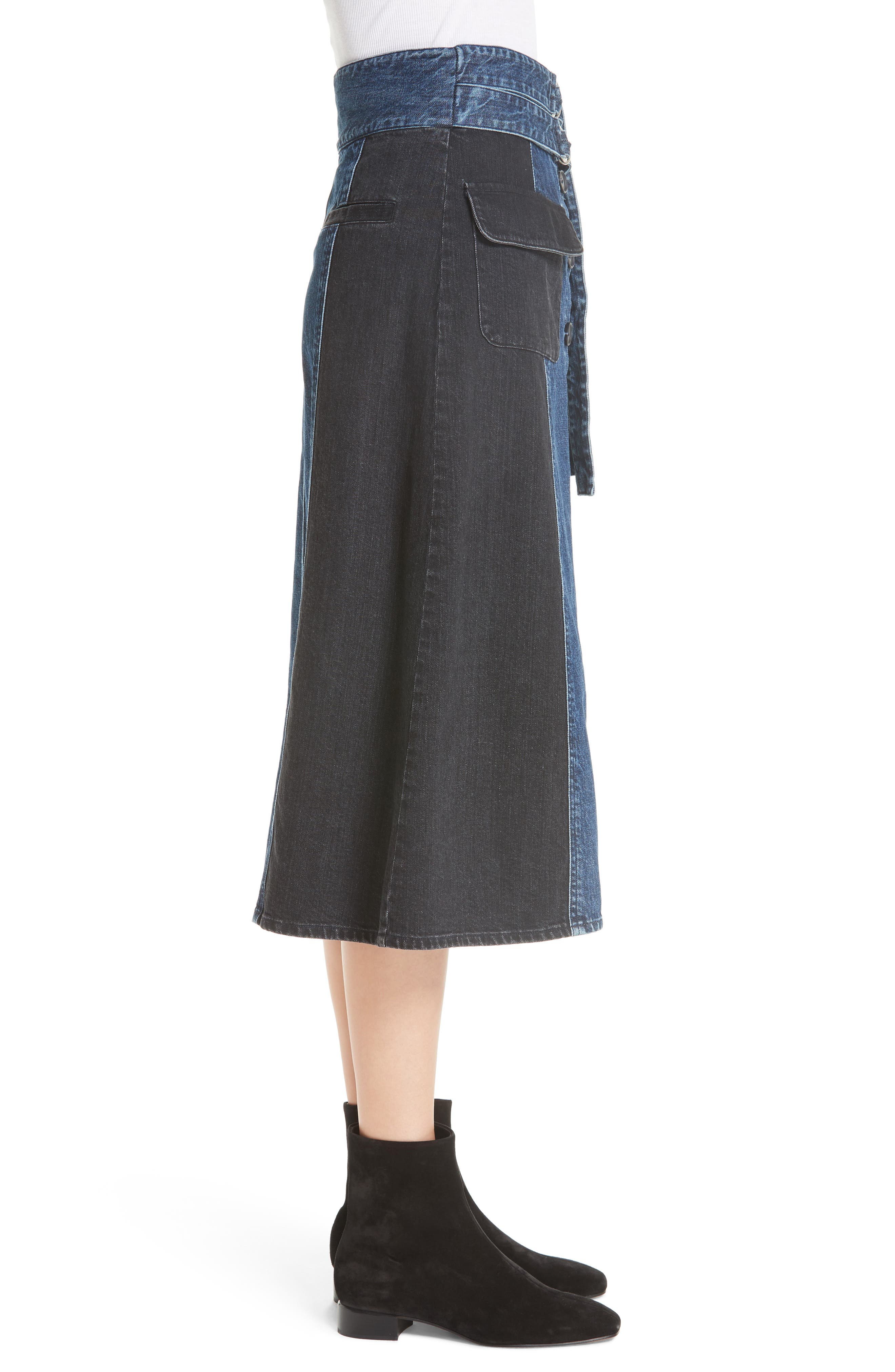 Bleu Bicolor Denim Midi Skirt,                             Alternate thumbnail 3, color,                             INDIGO/ BLACK