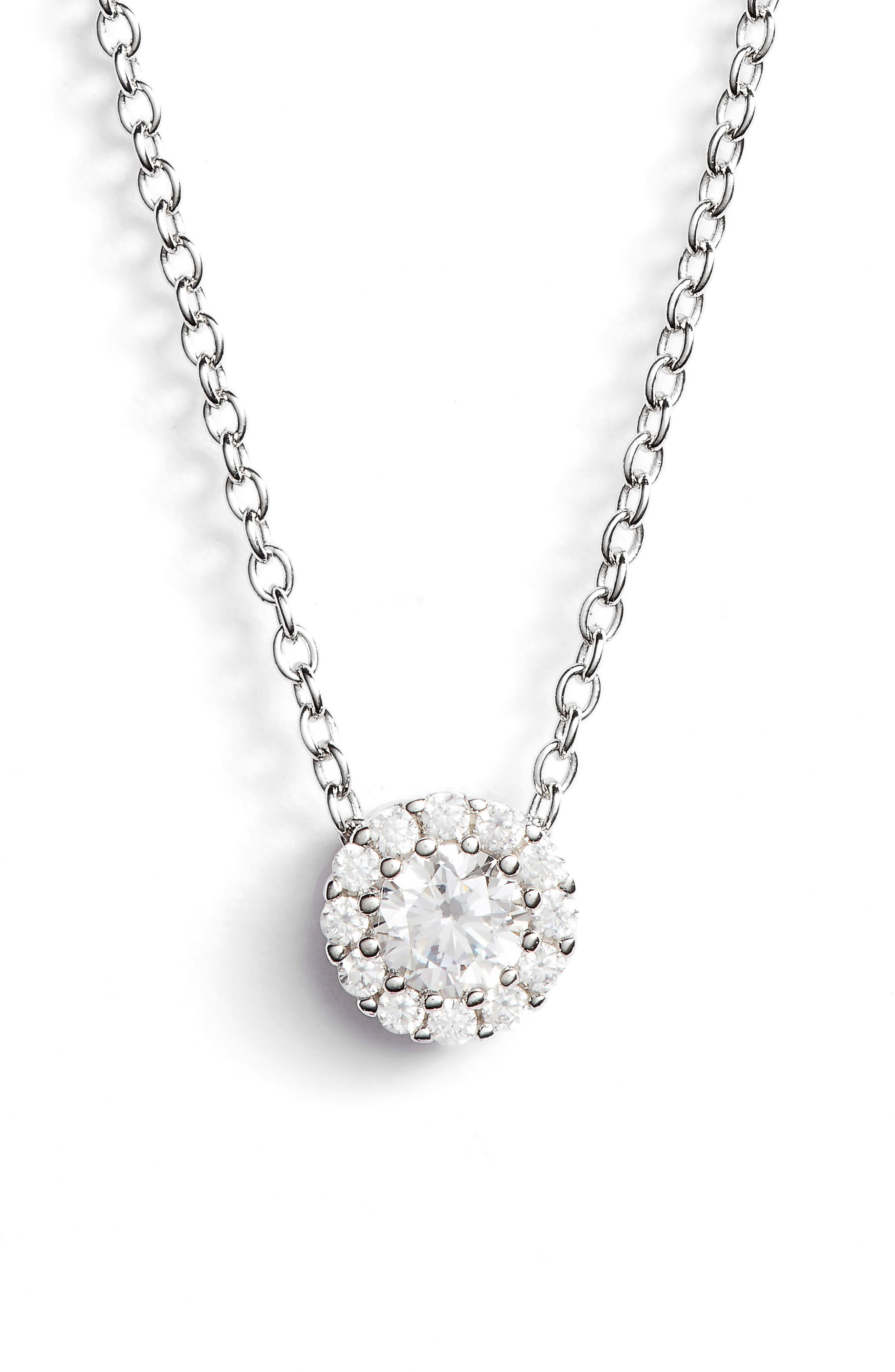 Cubic Zirconia Halo Pendant Necklace,                         Main,                         color, PLATINUM