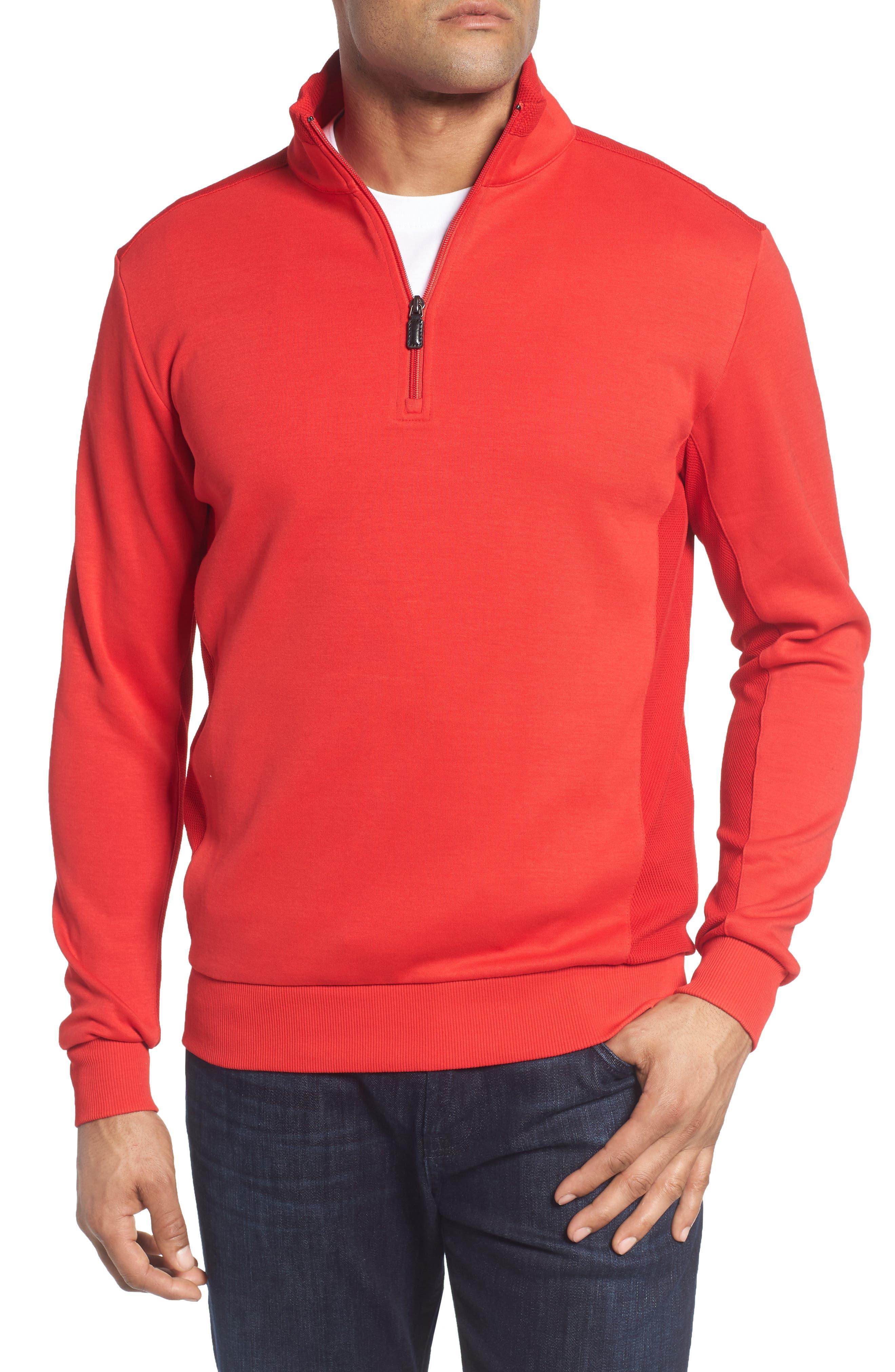 Regular Fit Knit Quarter Zip Pullover,                             Main thumbnail 4, color,