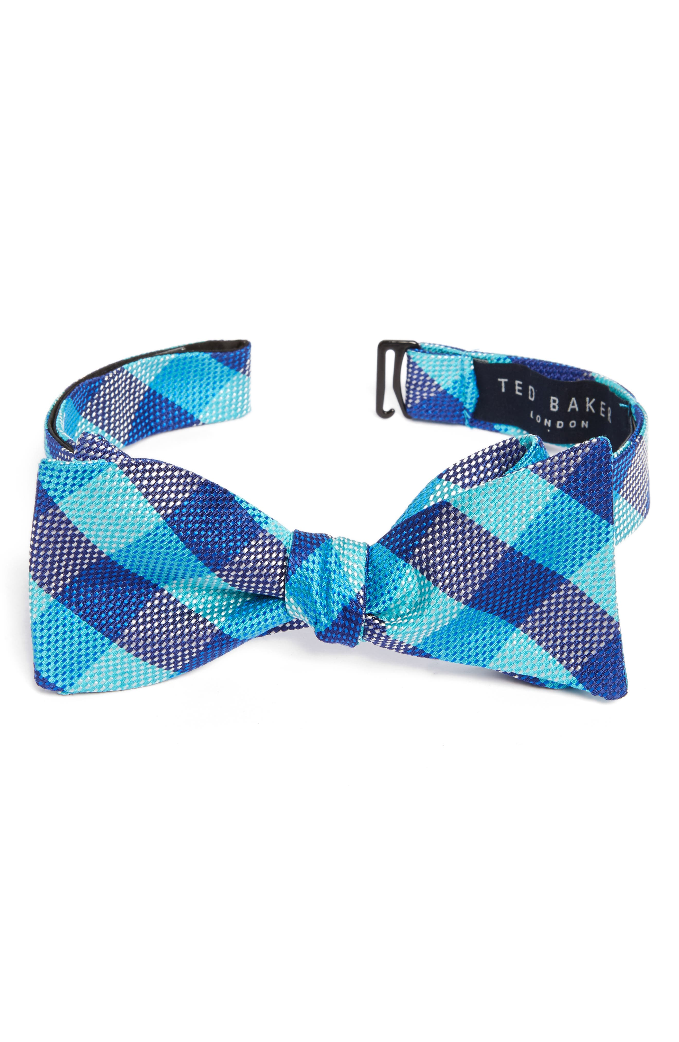 Derby Check Silk Bow Tie,                             Main thumbnail 2, color,