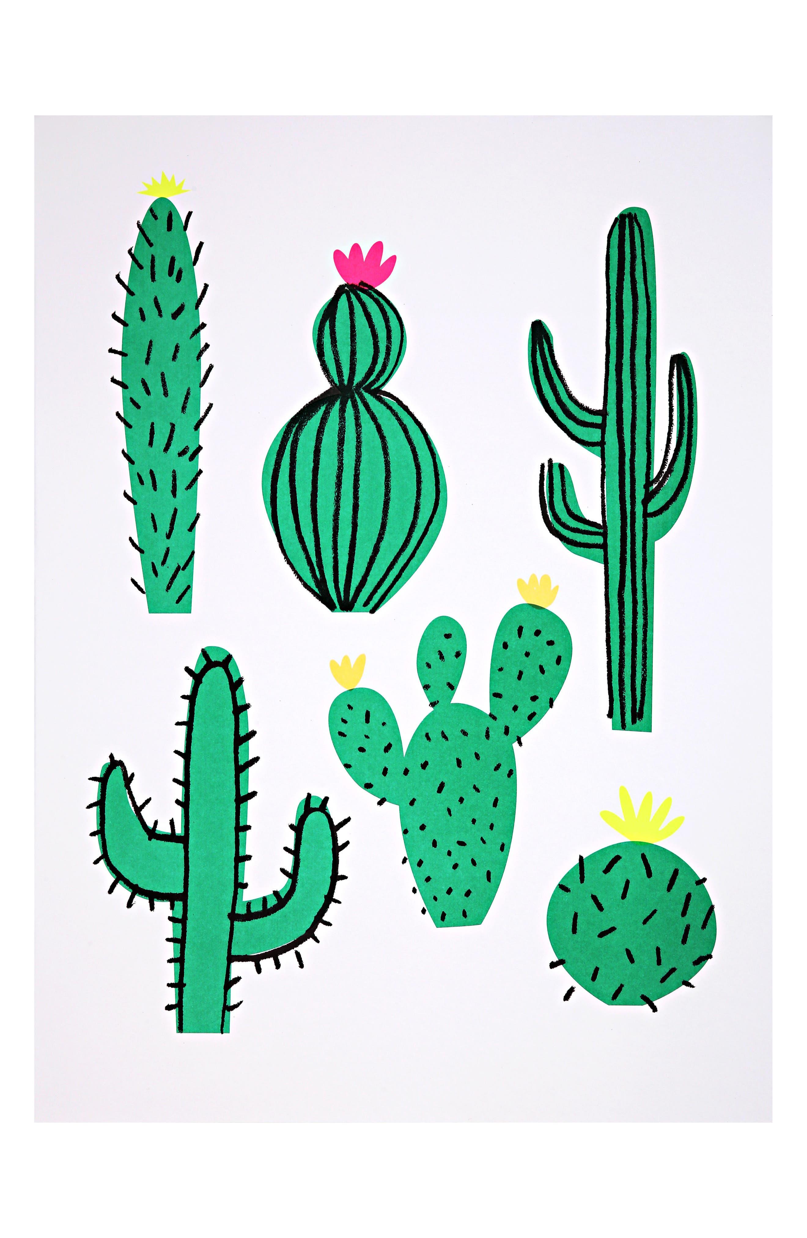 Cactus 2-Pack Art Prints,                             Main thumbnail 1, color,                             GREEN