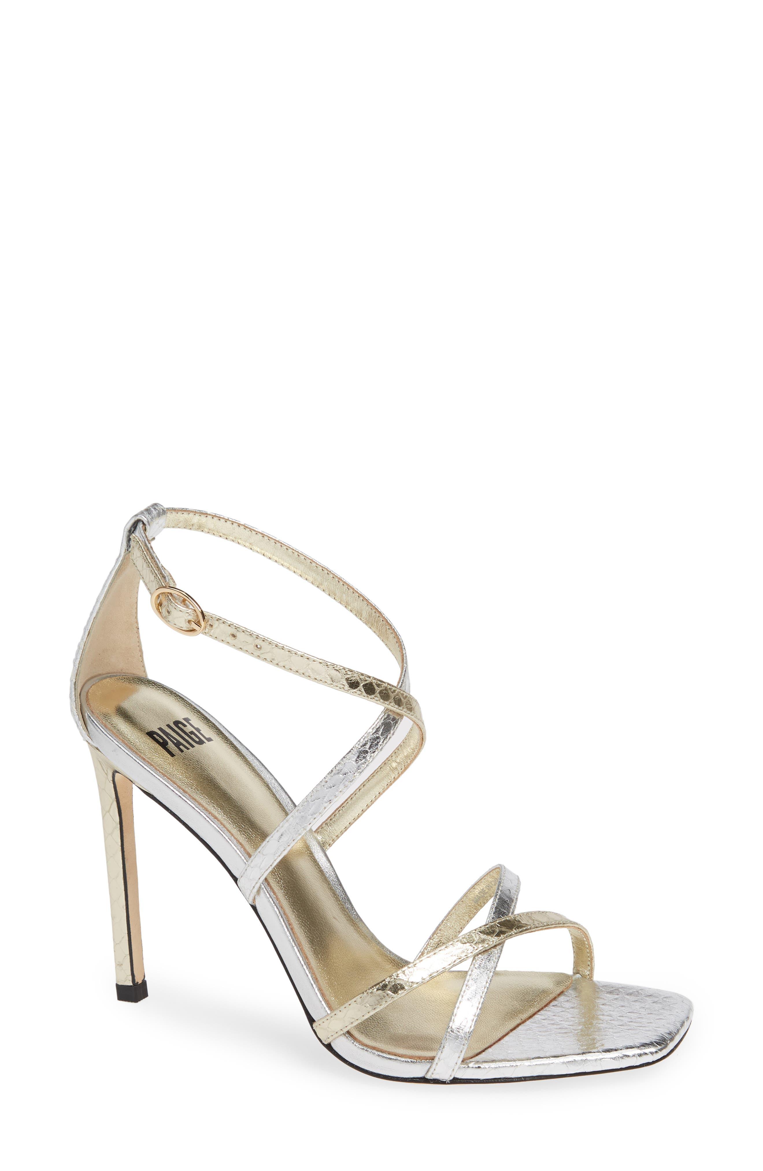 Paige Vera Genuine Snakeskin Sandal- Metallic